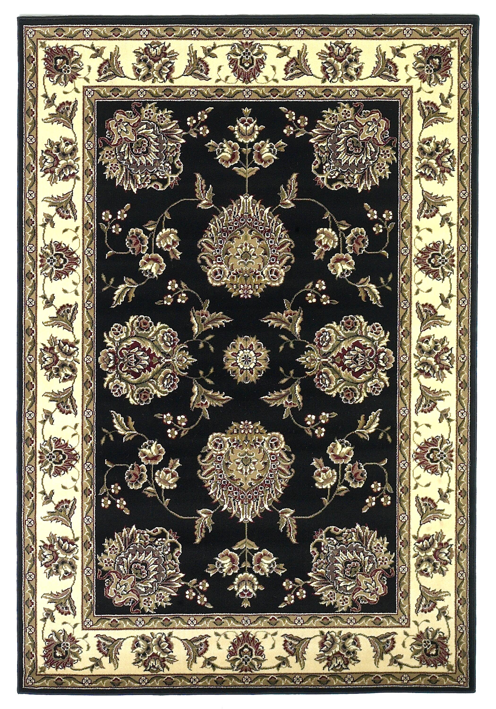 Bellville Black/Ivory Floral Mahal Area Rug Rug Size: Rectangle 5'3