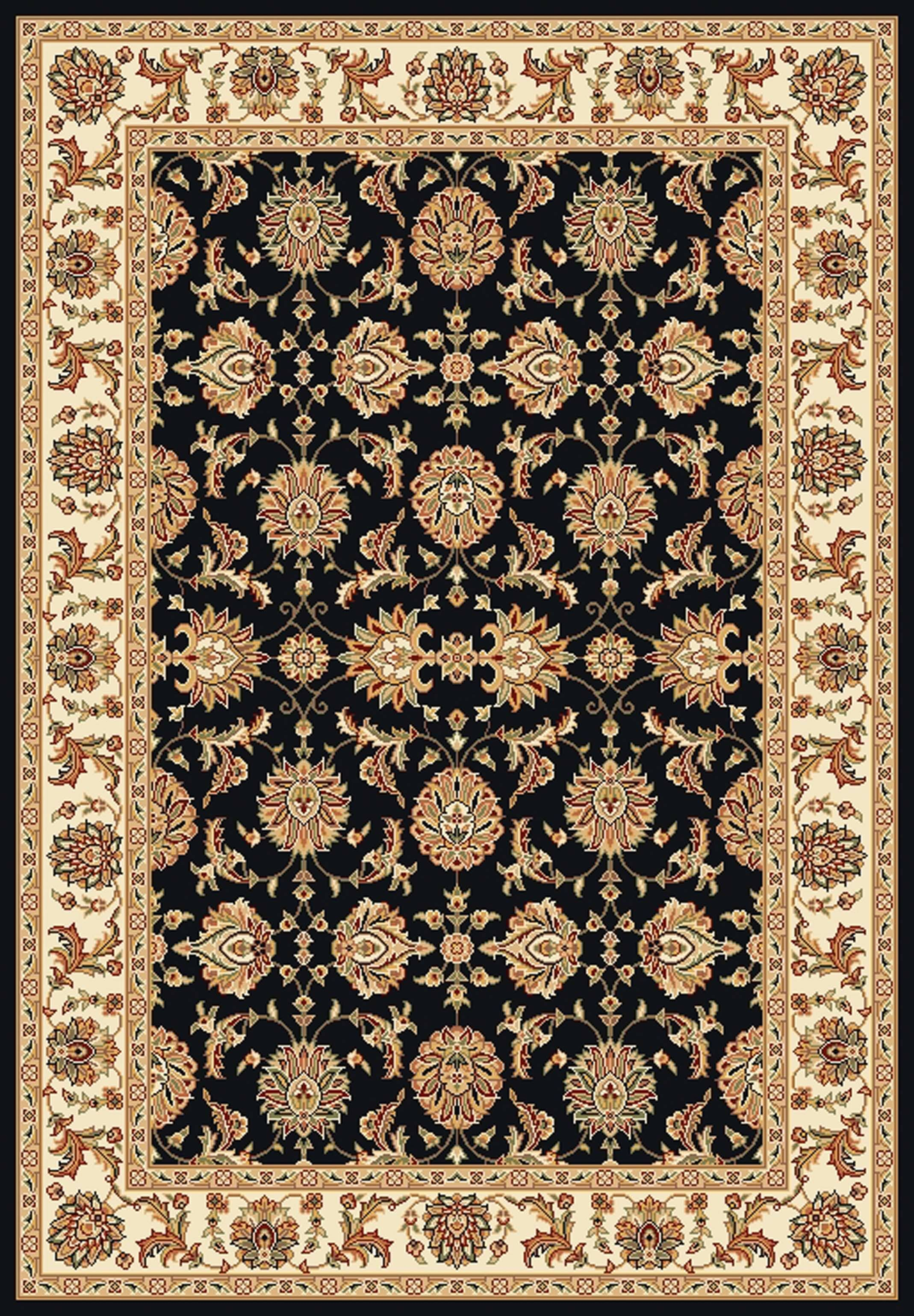 Bellville Kashan Hand-Woven Black/Ivory Area Rug Rug Size: Rectangle 9'10
