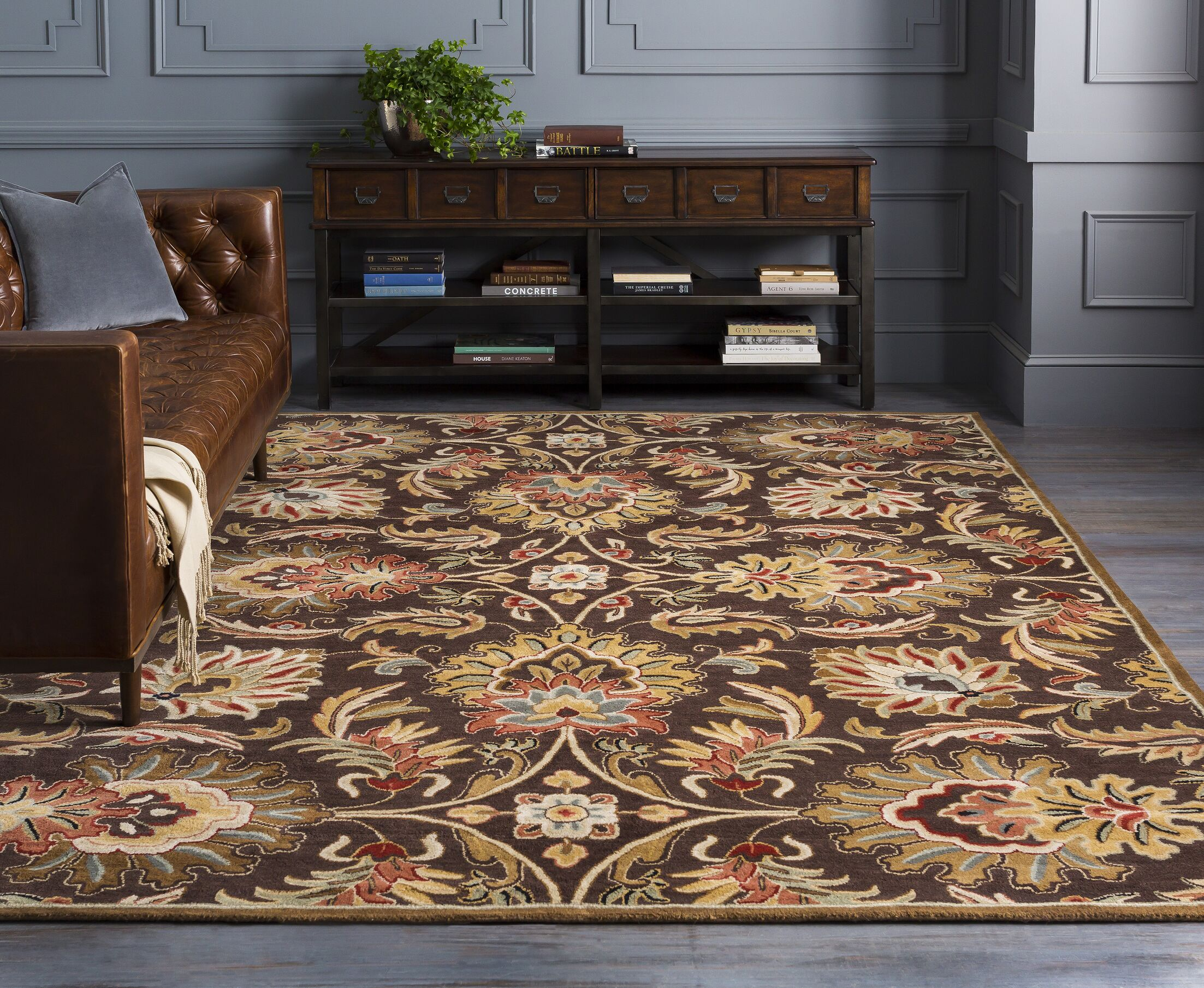 Camden Chocolate Tufted Wool Area Rug Rug Size: Square 4'