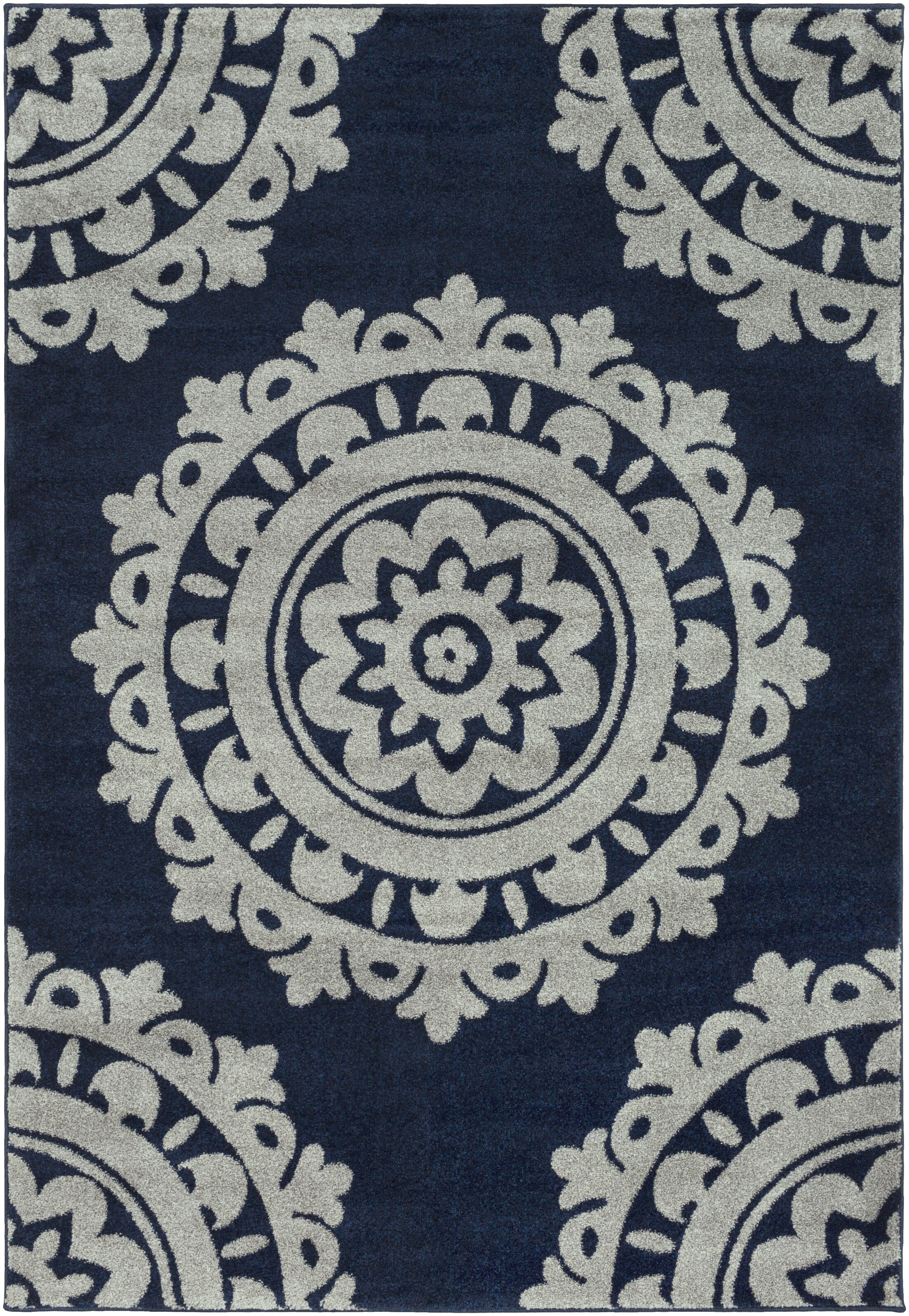 Bickerstaff Dark Blue/Silver Gray Area Rug Rug Size: Rectangle 2' x 3'3