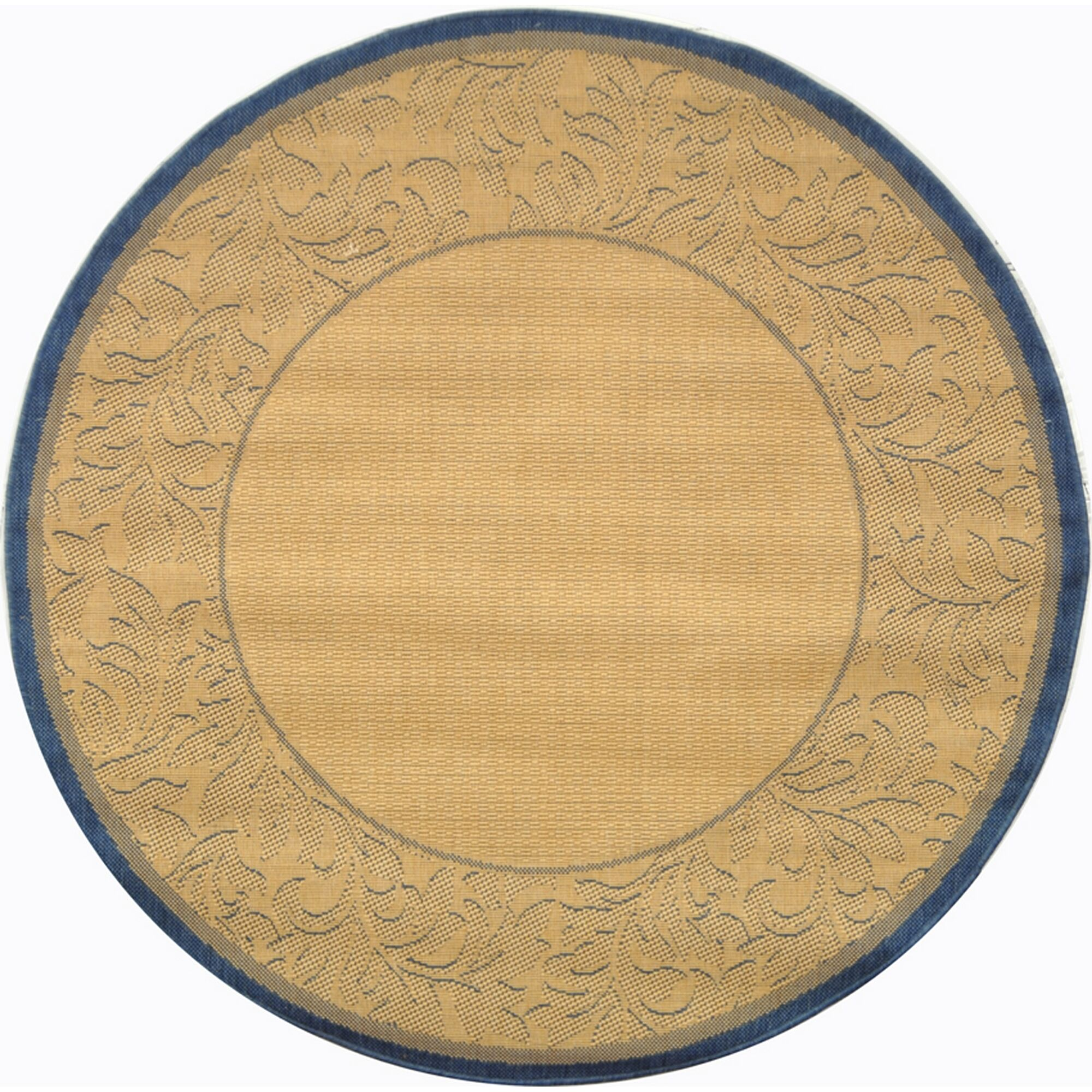 Fenmore Natural/Blue Outdoor Area Rug Rug Size: Round 5'3