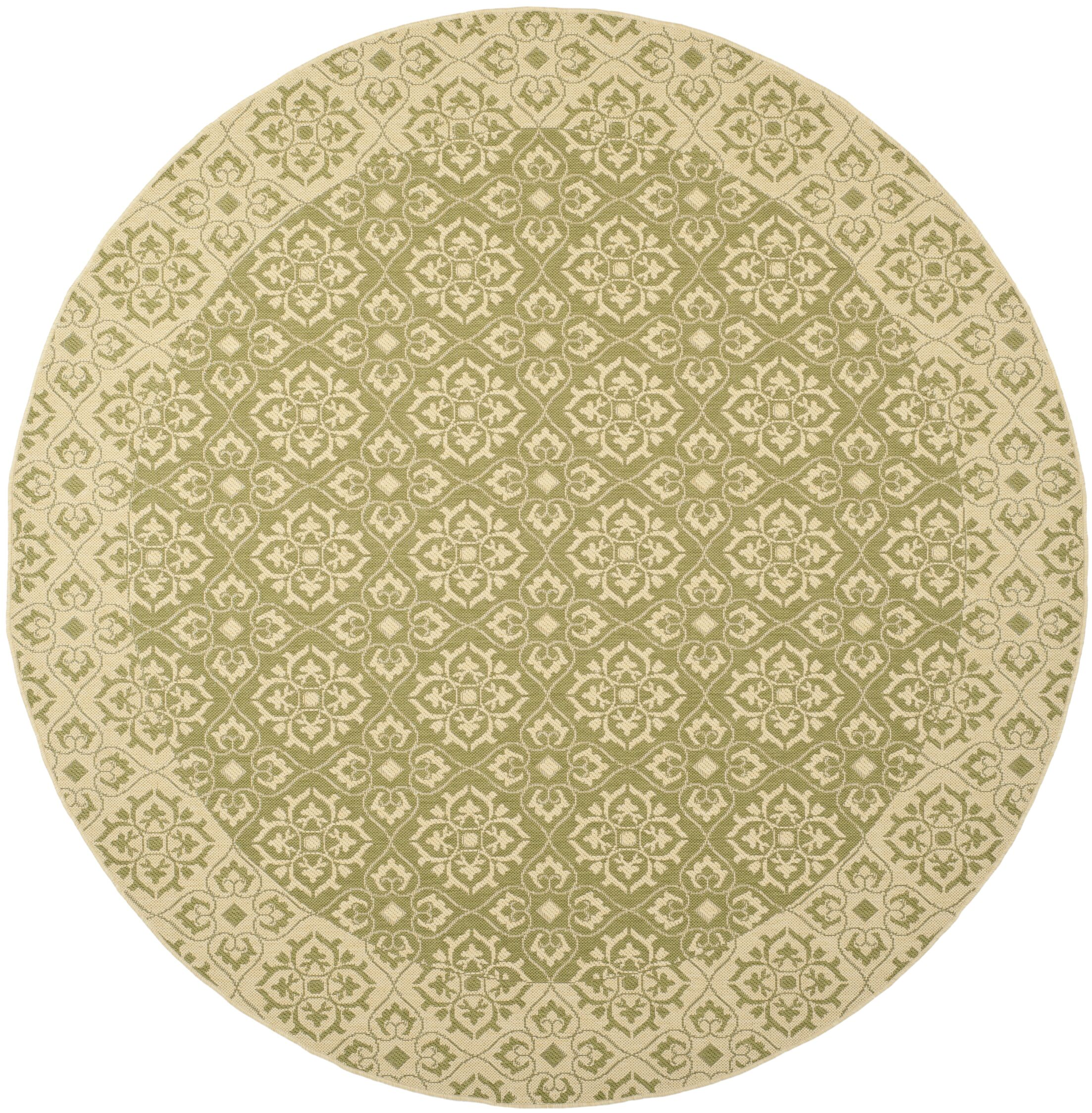 Lynn Green/Creme Outdoor Area Rug Rug Size: Round 7'10