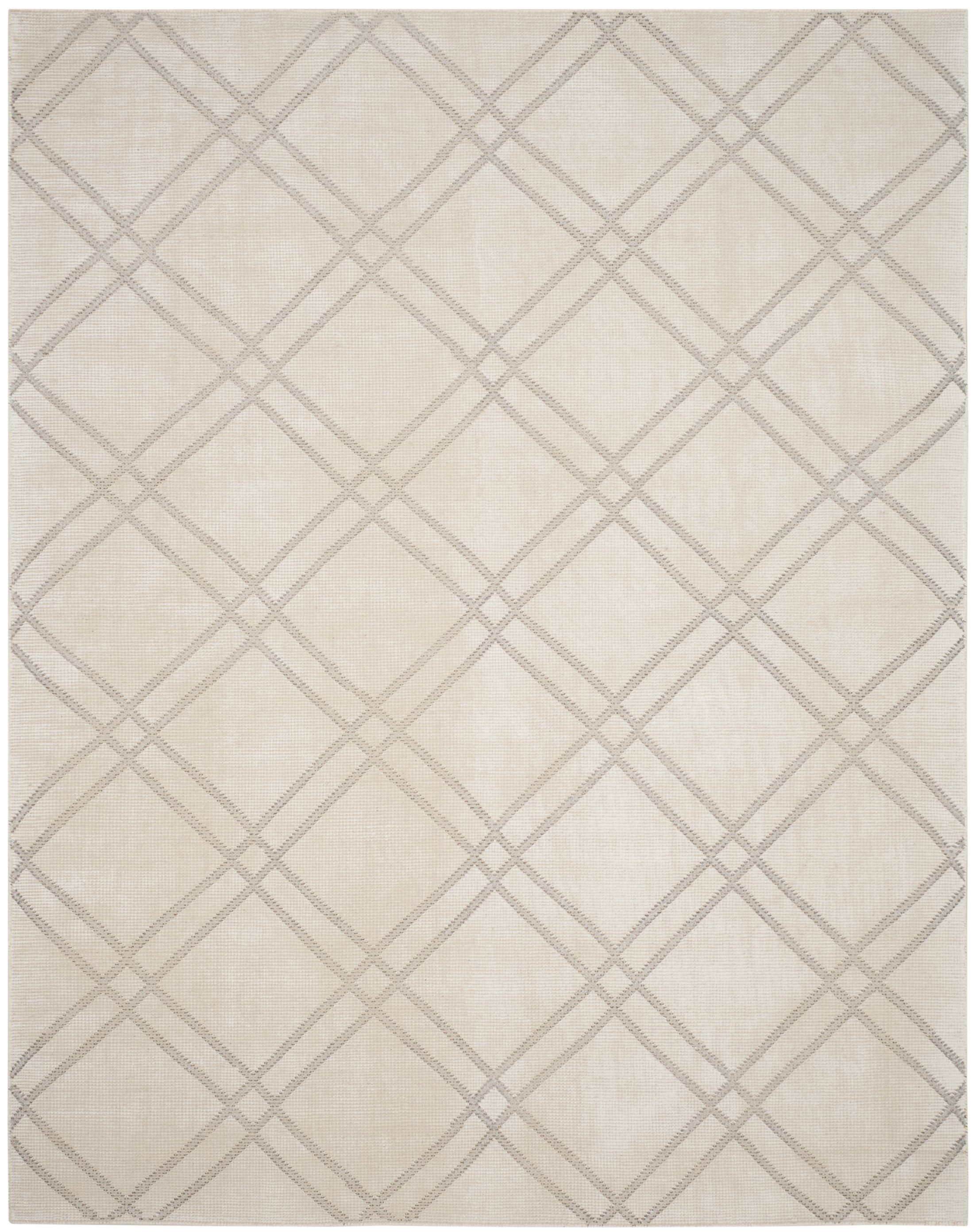 Bradenton Hand-Knotted Dove/Ivory Area Rug Rug Size: Rectangle 4' x 6'