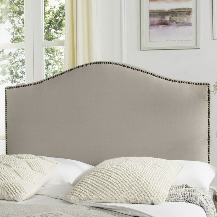 Rumford Upholstered Panel Headboard Color: Taupe, Size: Twin, Upholstery: Linen