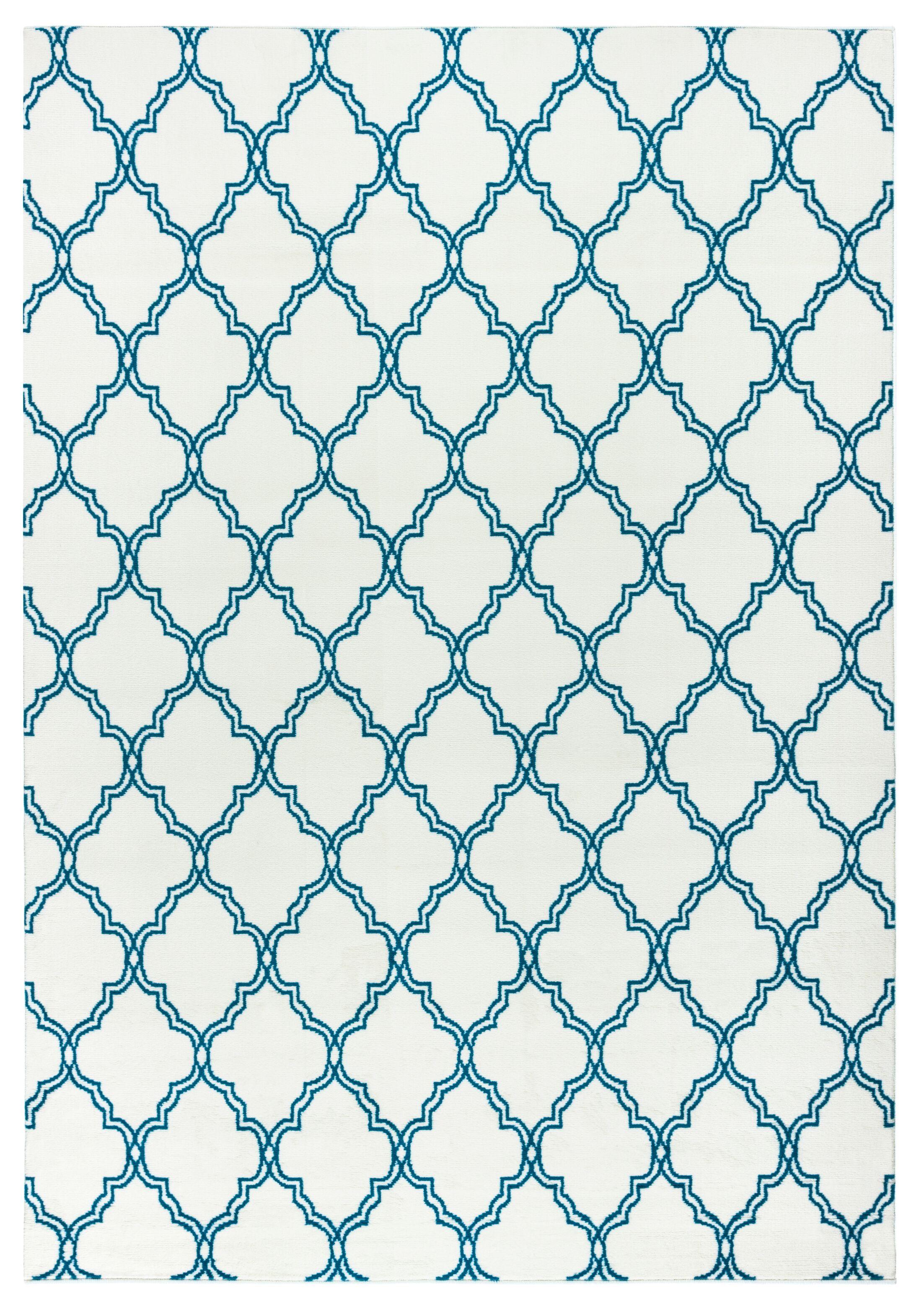 Noblesville White/Aqua Indoor/Outdoor Area Rug Rug Size: Rectangle 6'7