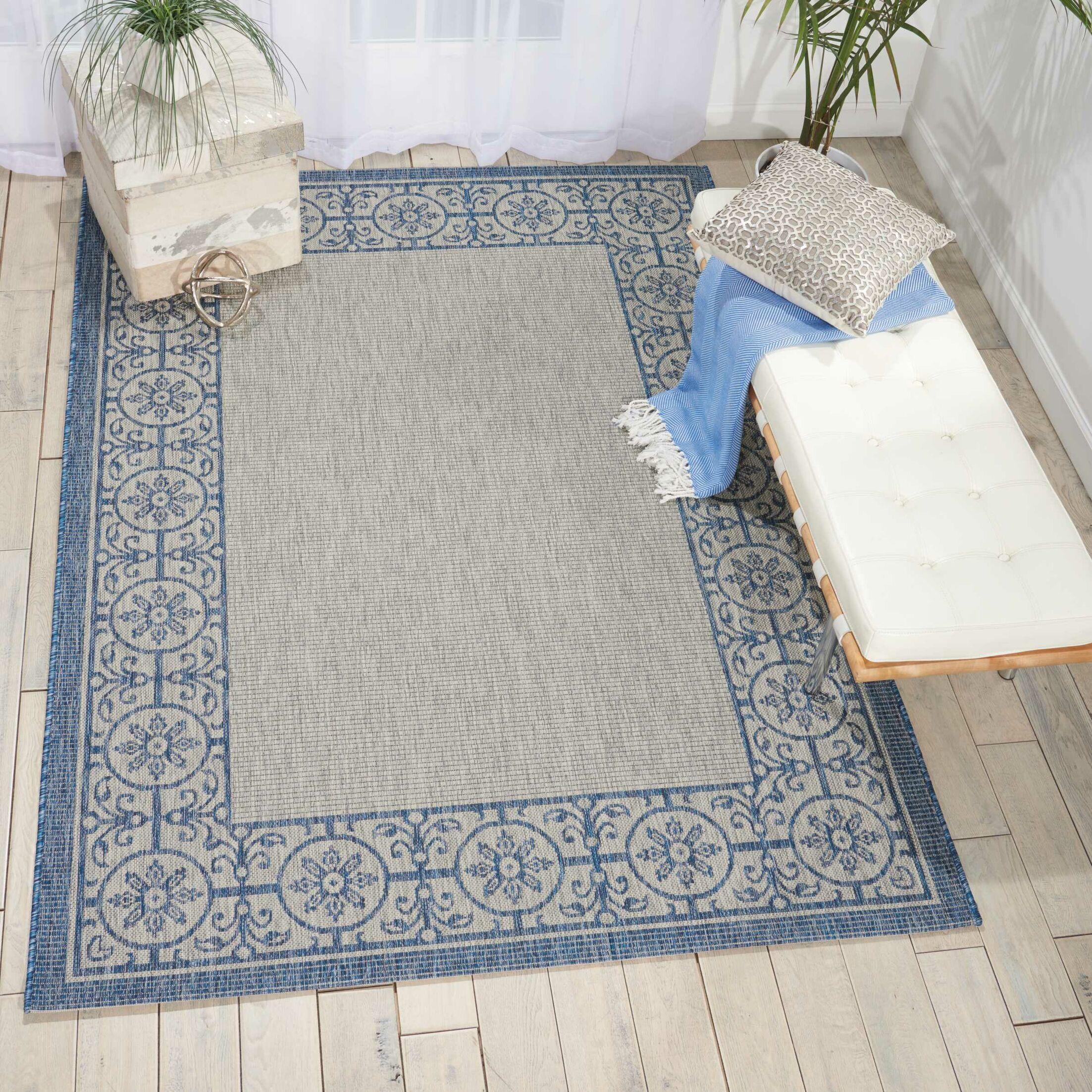 Cochrane Ivory/Blue Indoor/Outdoor Area Rug Rug Size: Rectangle 7'10