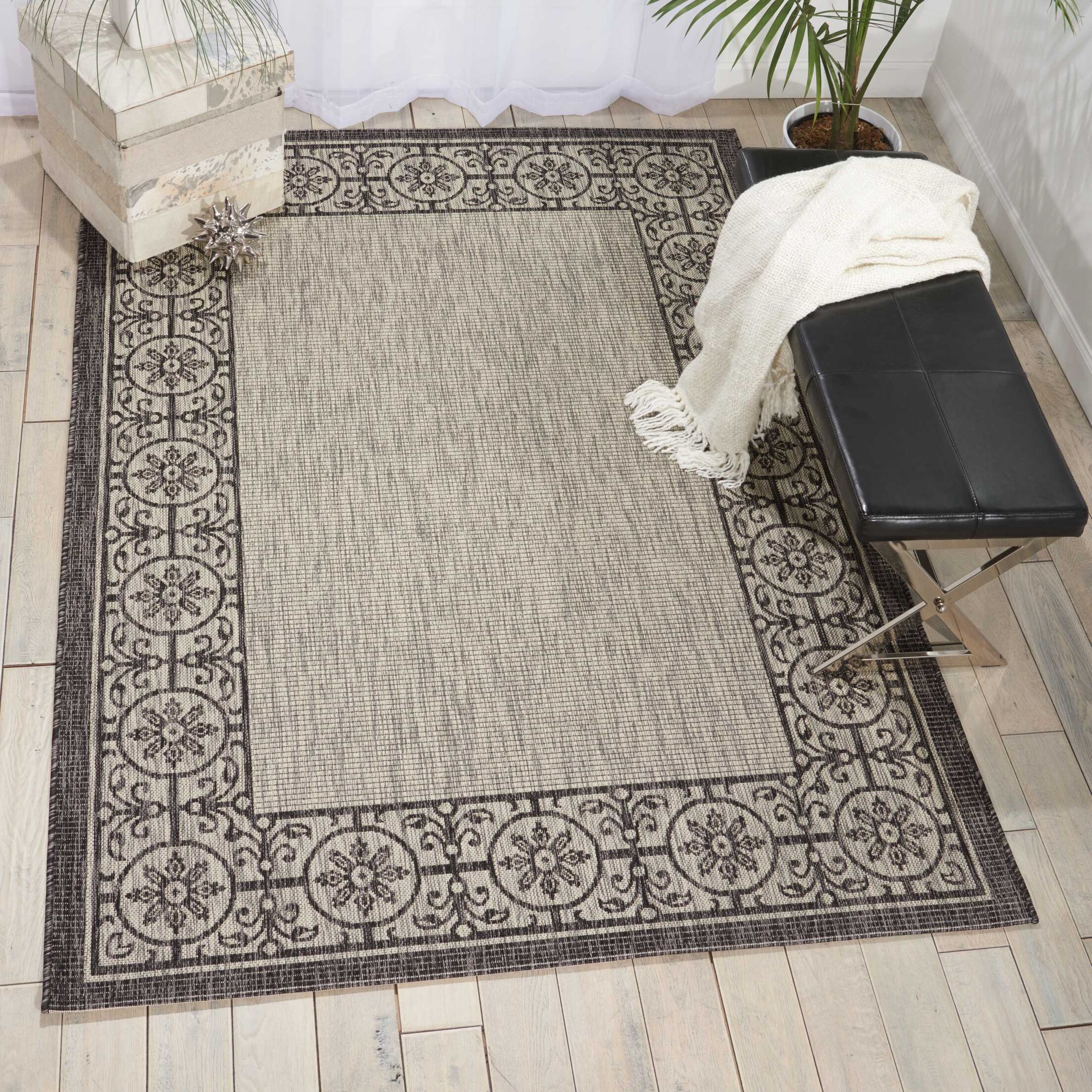 Cochrane Ivory/Charcoal Indoor/Outdoor Area Rug Rug Size: Rectangle 9'6