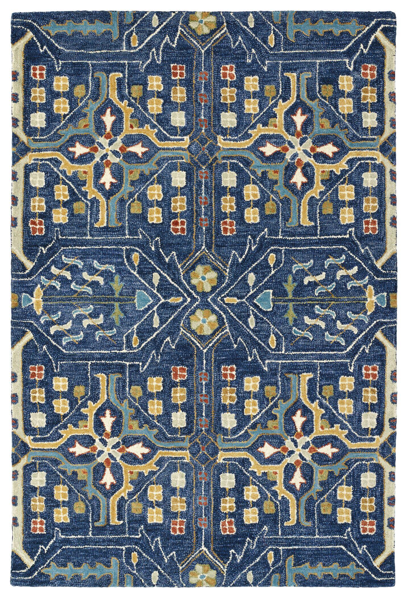 Dartmoor Hand-Tufted Navy Area Rug Rug Size: Rectangle 5' x 7'6