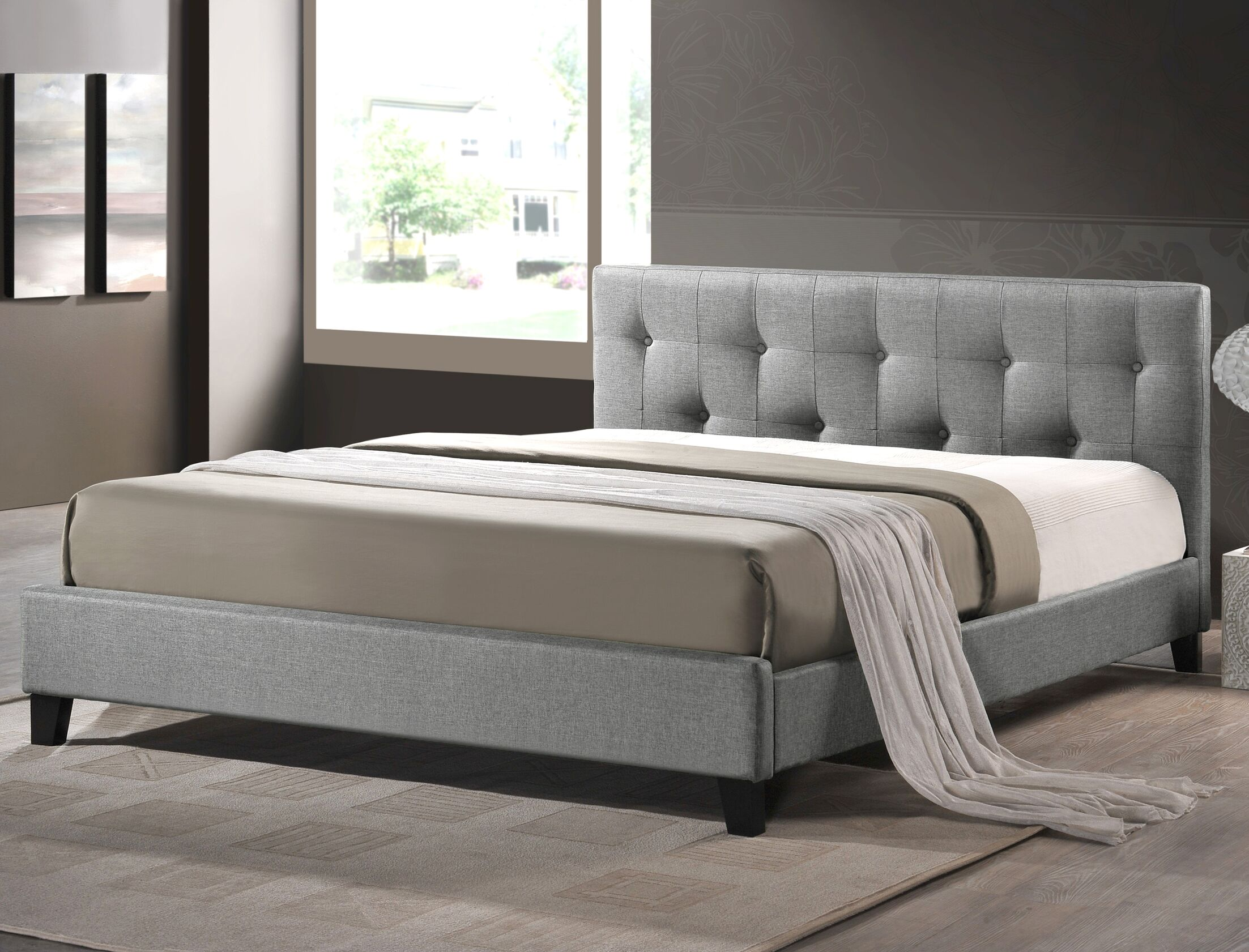 Brookby Place Upholstered Platform Bed Color: Grey, Size: Queen