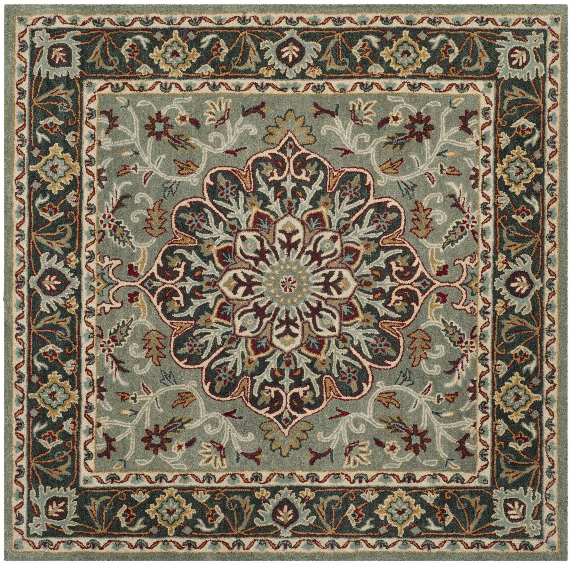 Cranmore Hand-Tufted Gray/Charcoal Area Rug Rug Size: Square 6'