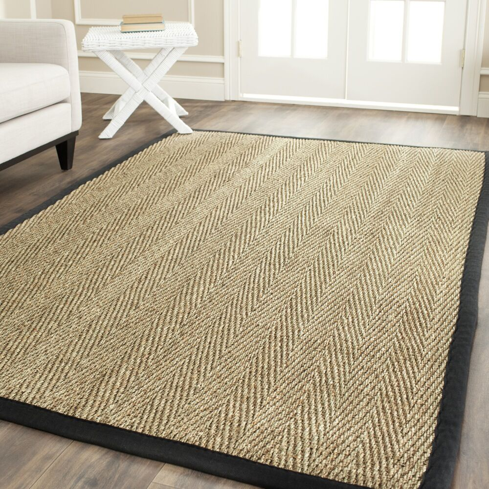 Staub Hand-Woven Natural/Black Area Rug Rug Size: Rectangle 6' x 9'