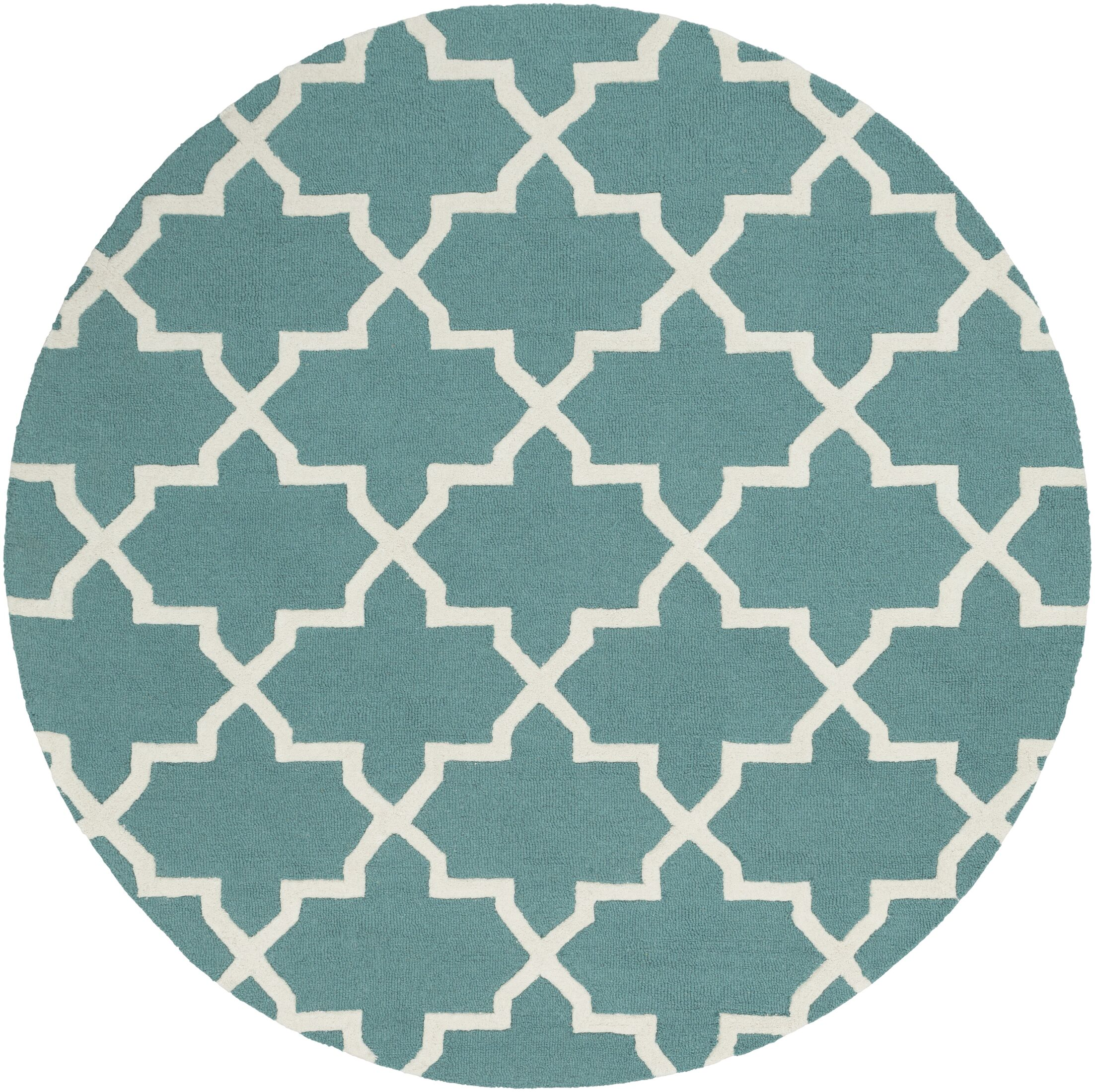 Blaisdell Teal Geometric Keely Area Rug Rug Size: Round 8'