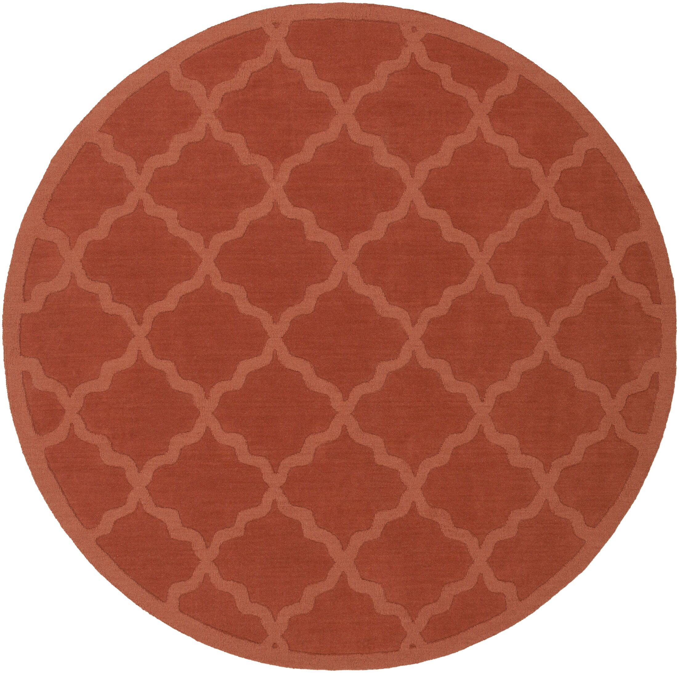 Blankenship Red Geometric Abbey Area Rug Rug Size: Round 7'9