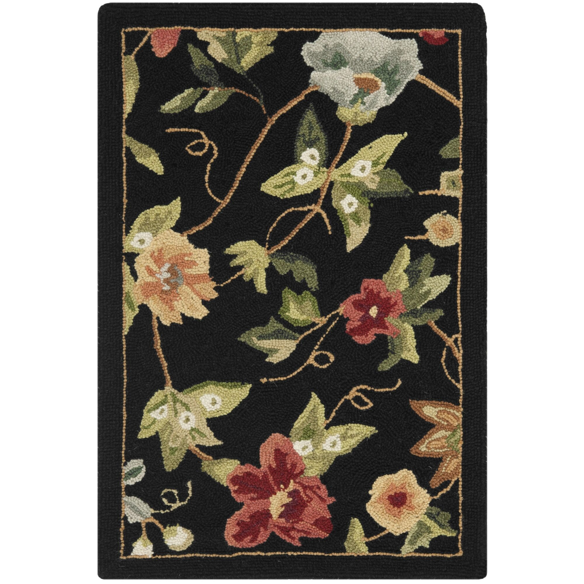 Helena Black/Sage Hooked Wool Area Rug Rug Size: Rectangle 7'9