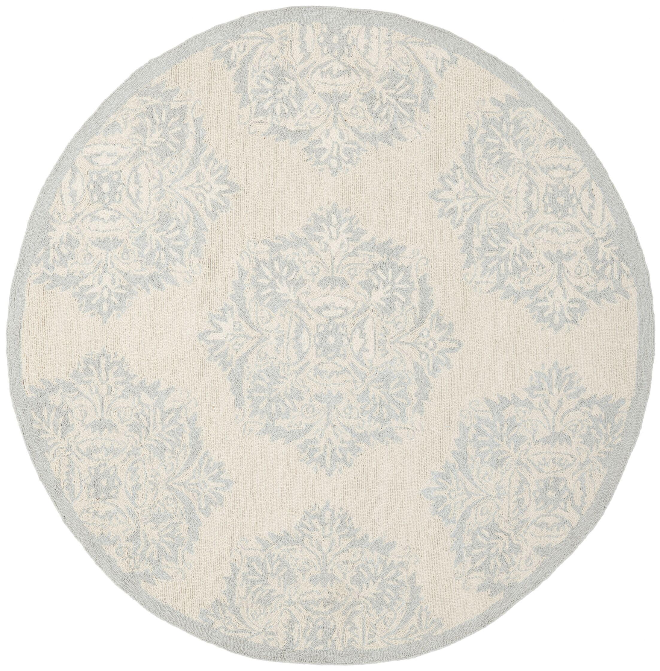 Helena Blue&Ivory Area Rug Rug Size: Round 5'6