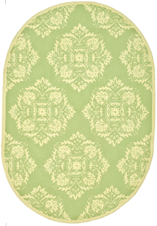 Helena Green/Beige Rug Rug Size: Oval 7'6