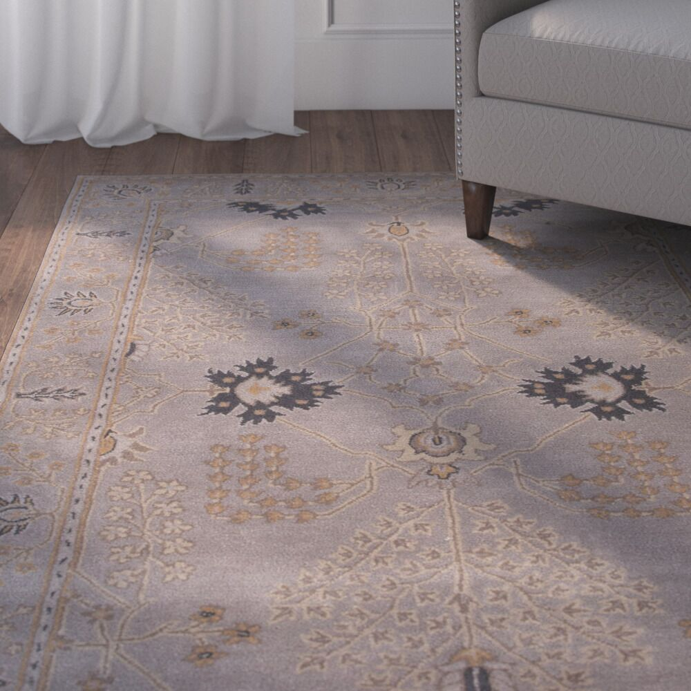 Trinningham Hand-Woven Wool Gray Area Rug Rug Size: Rectangle 5' x 8'