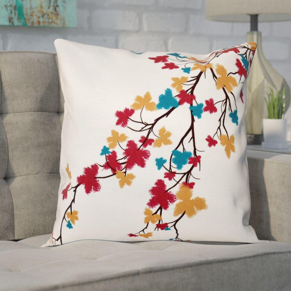 Agawam Flower Print Throw Pillow Size: 18