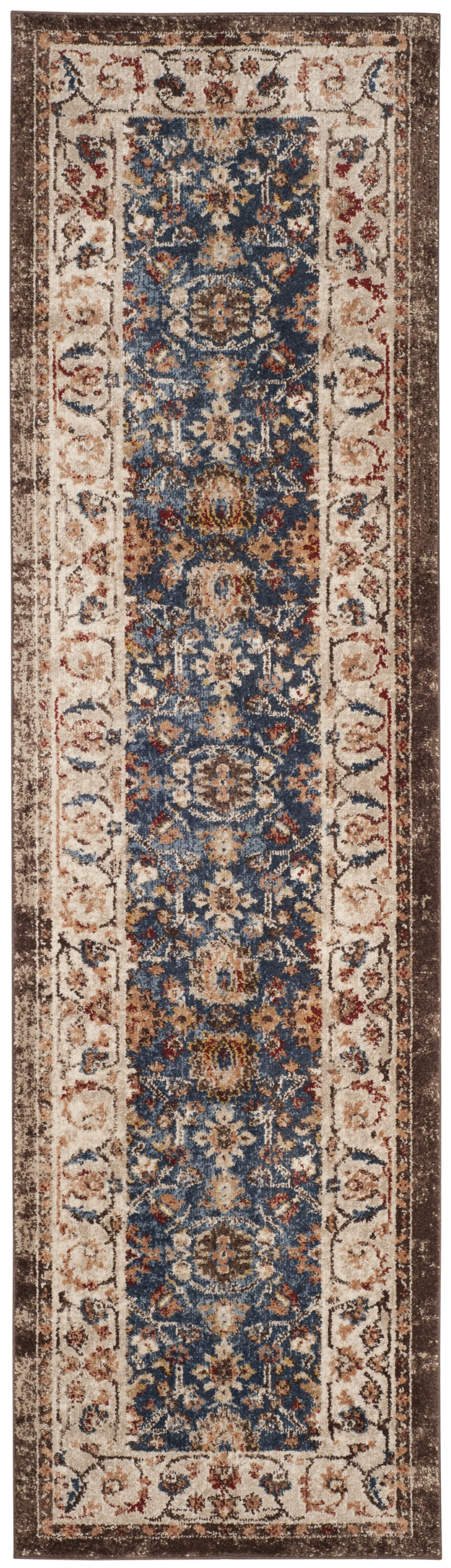 Broomhedge Royal/Ivory Area Rug Rug Size: Runner 2'3