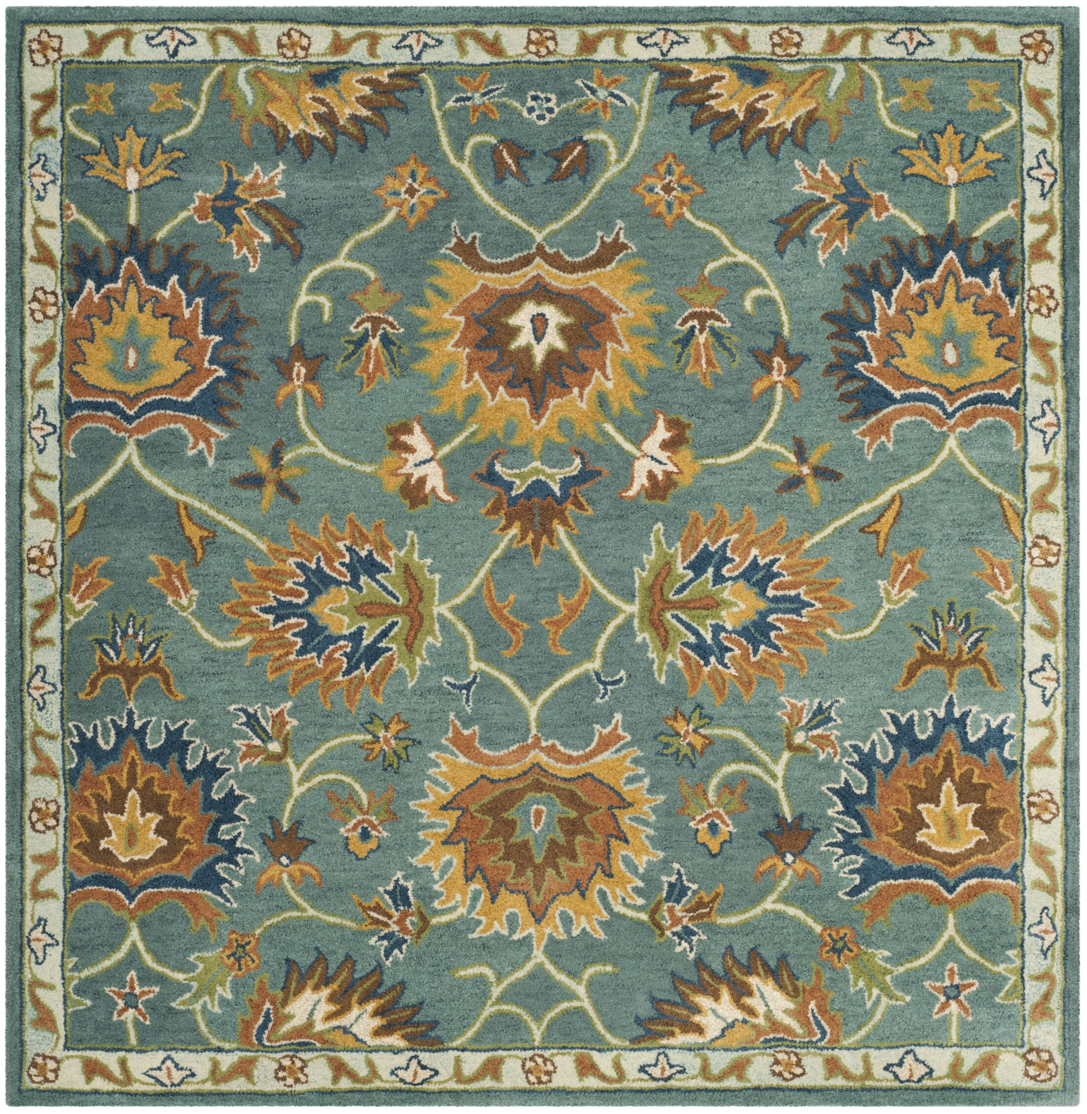 Cranmore Hand-Tufted Light Blue/Yellow Area Rug Rug Size: Square 6'
