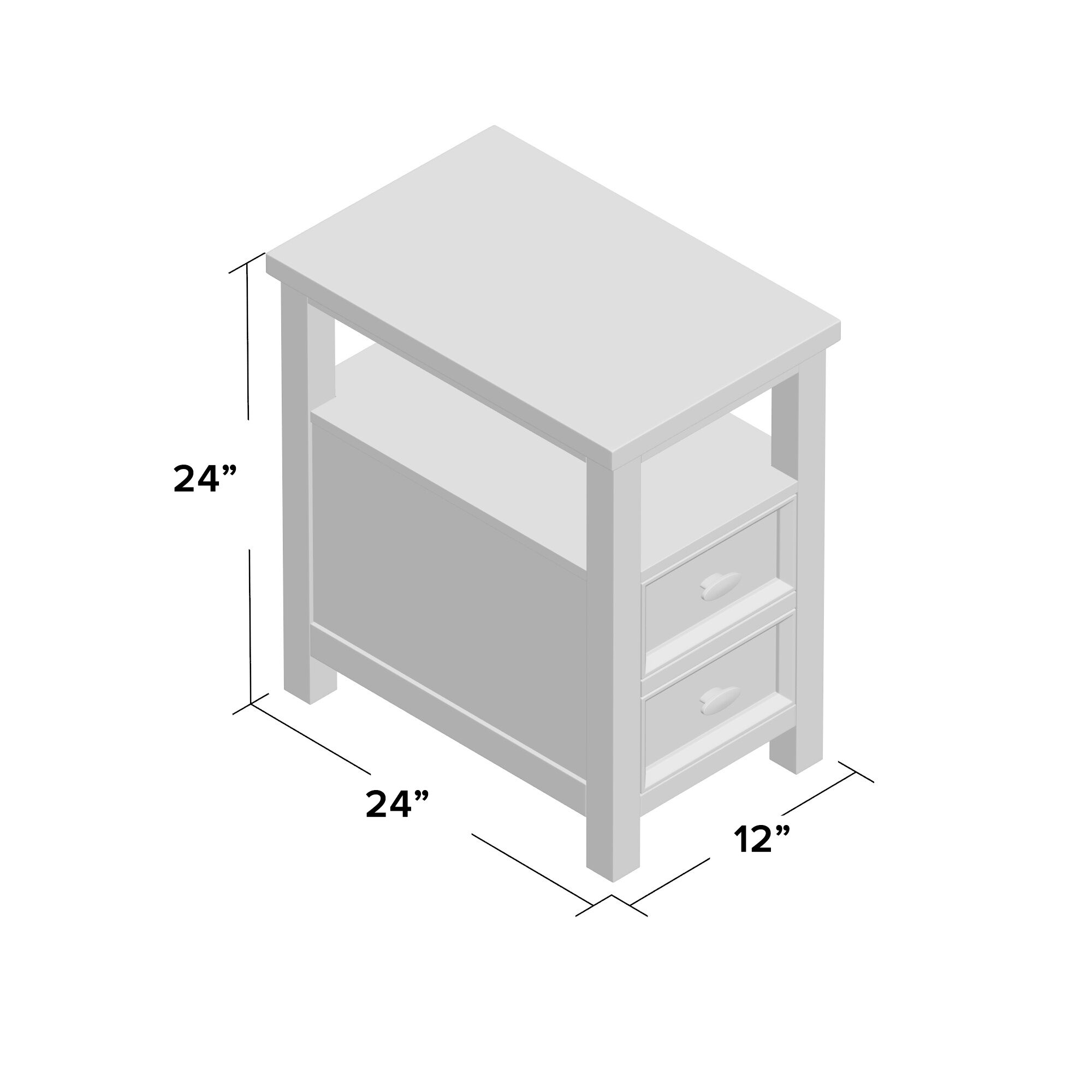Altitude End Table With Storage Color: Gray