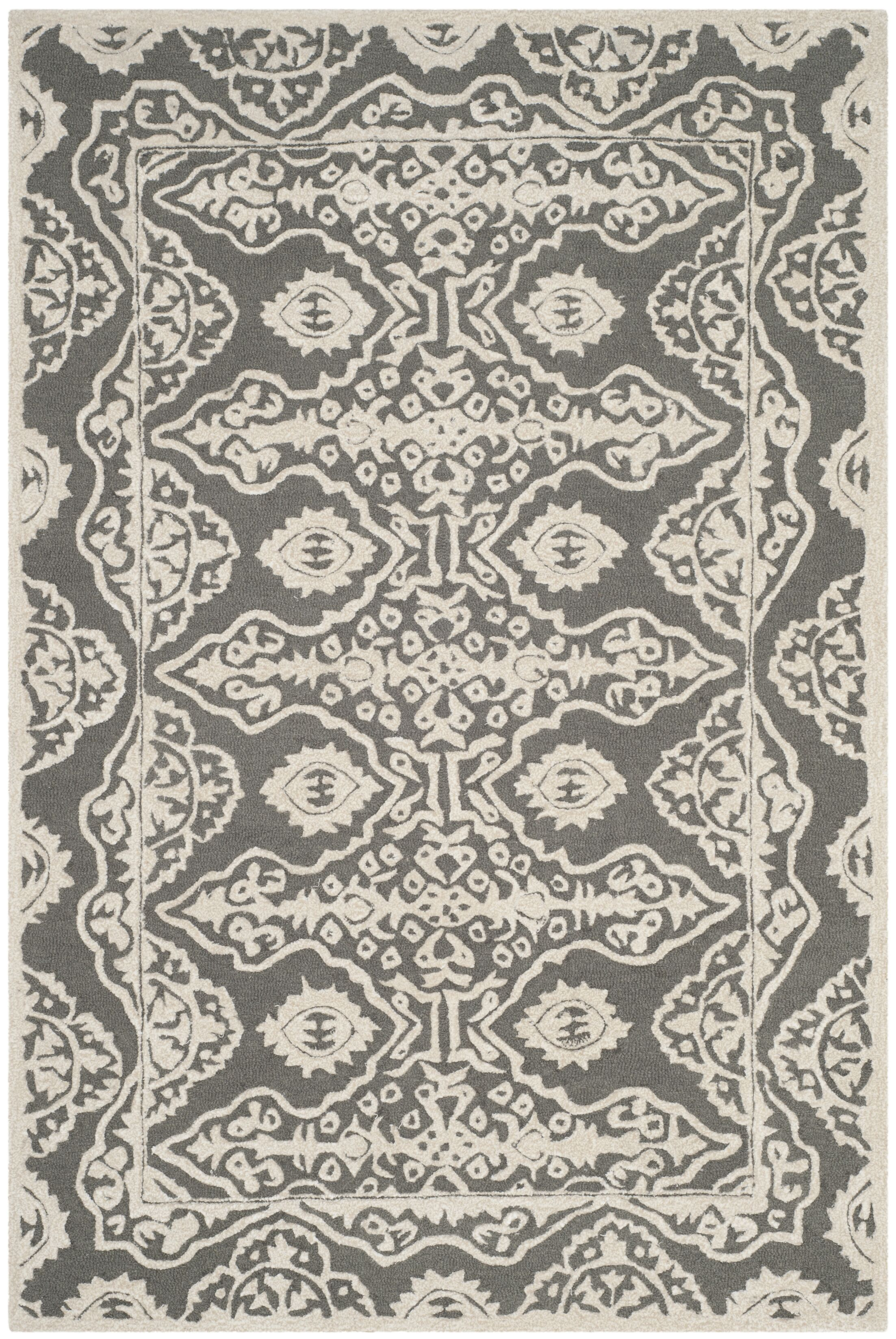 Amundson Hand-Tufted Gray/Ivory Area Rug Rug Size: Rectangle 4' x 6'