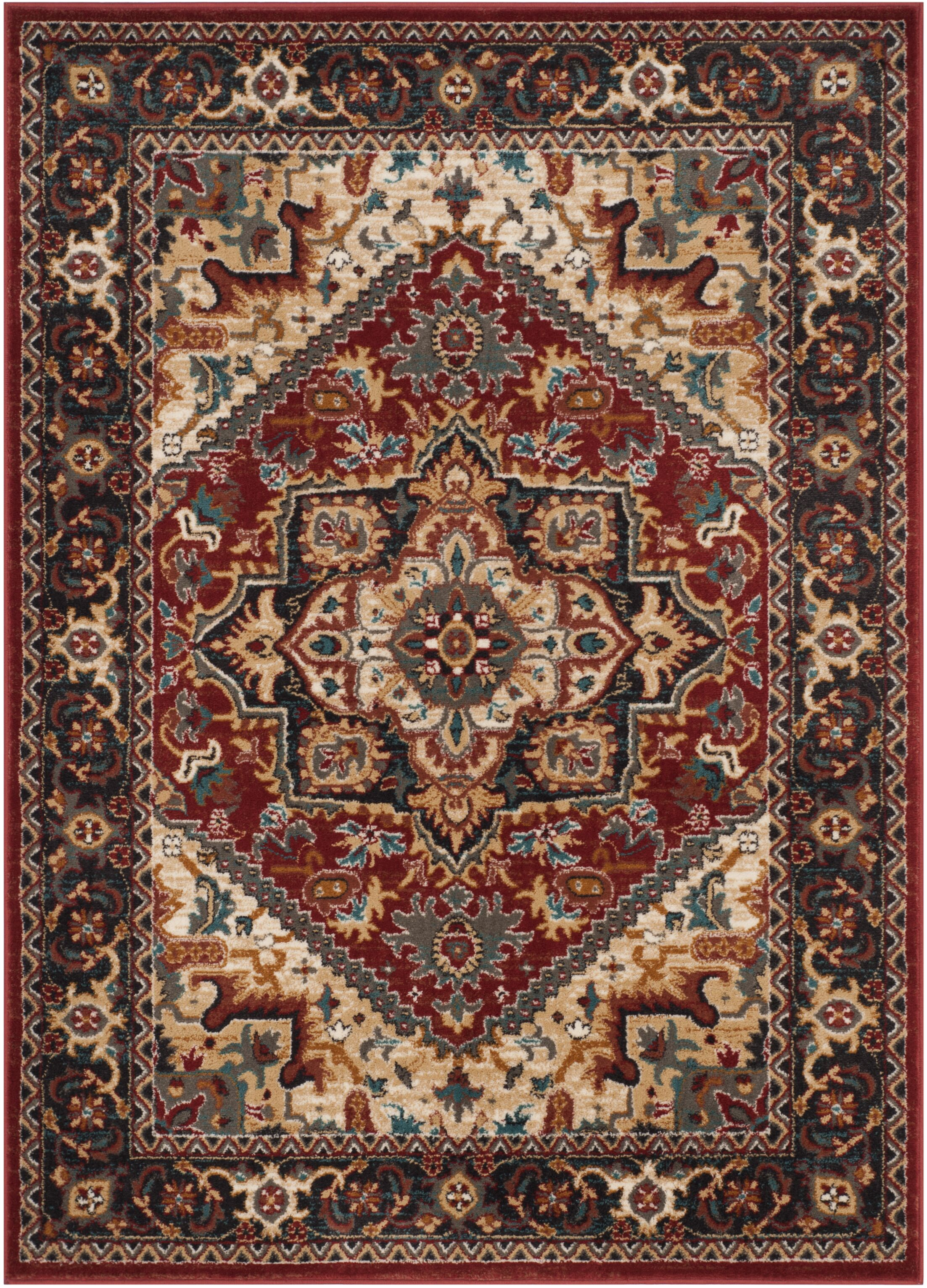 Lowe Red/Beige Area Rug Rug Size: Rectangle 5'1