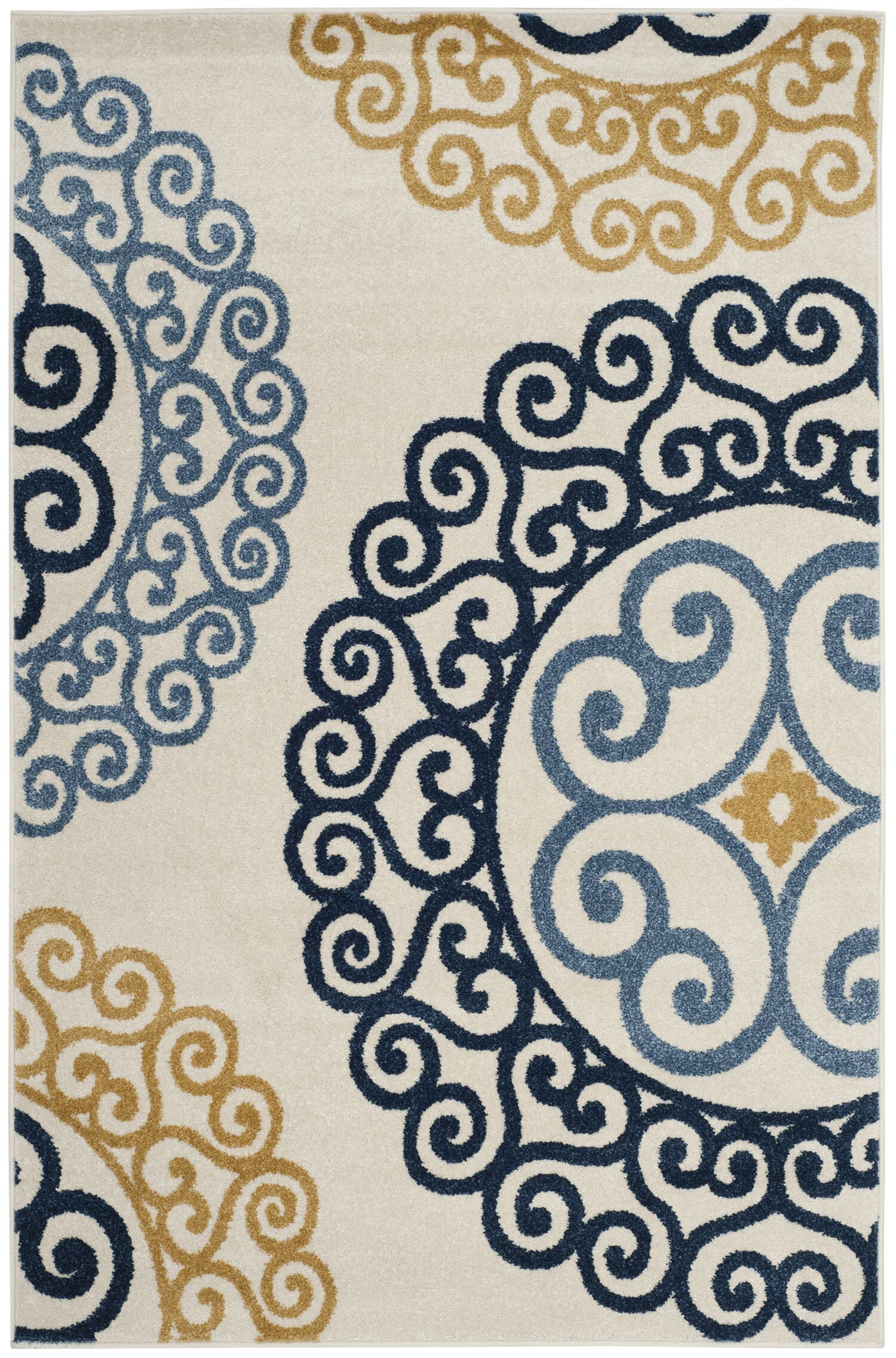 Neil Ivory/Blue Indoor/Outdoor Area Rug Rug Size: Rectangle 8' x 10'