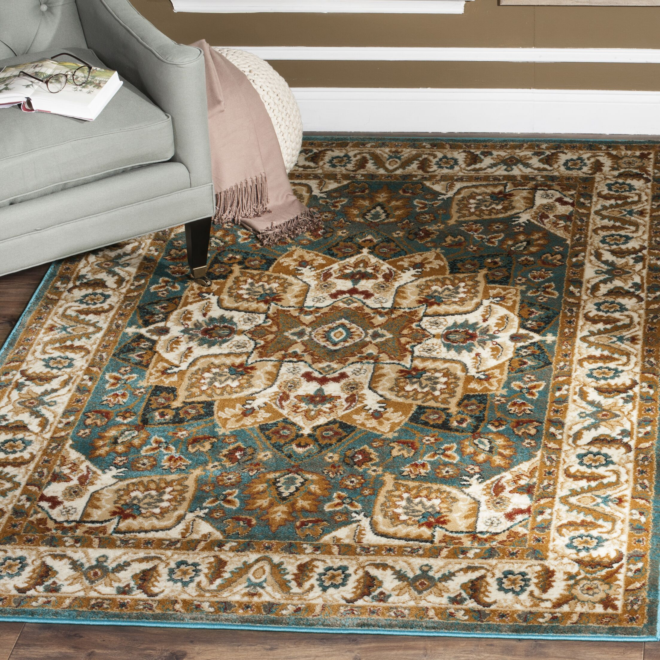 Lowe Teal Area Rug Rug Size: Rectangle 9' x 12'