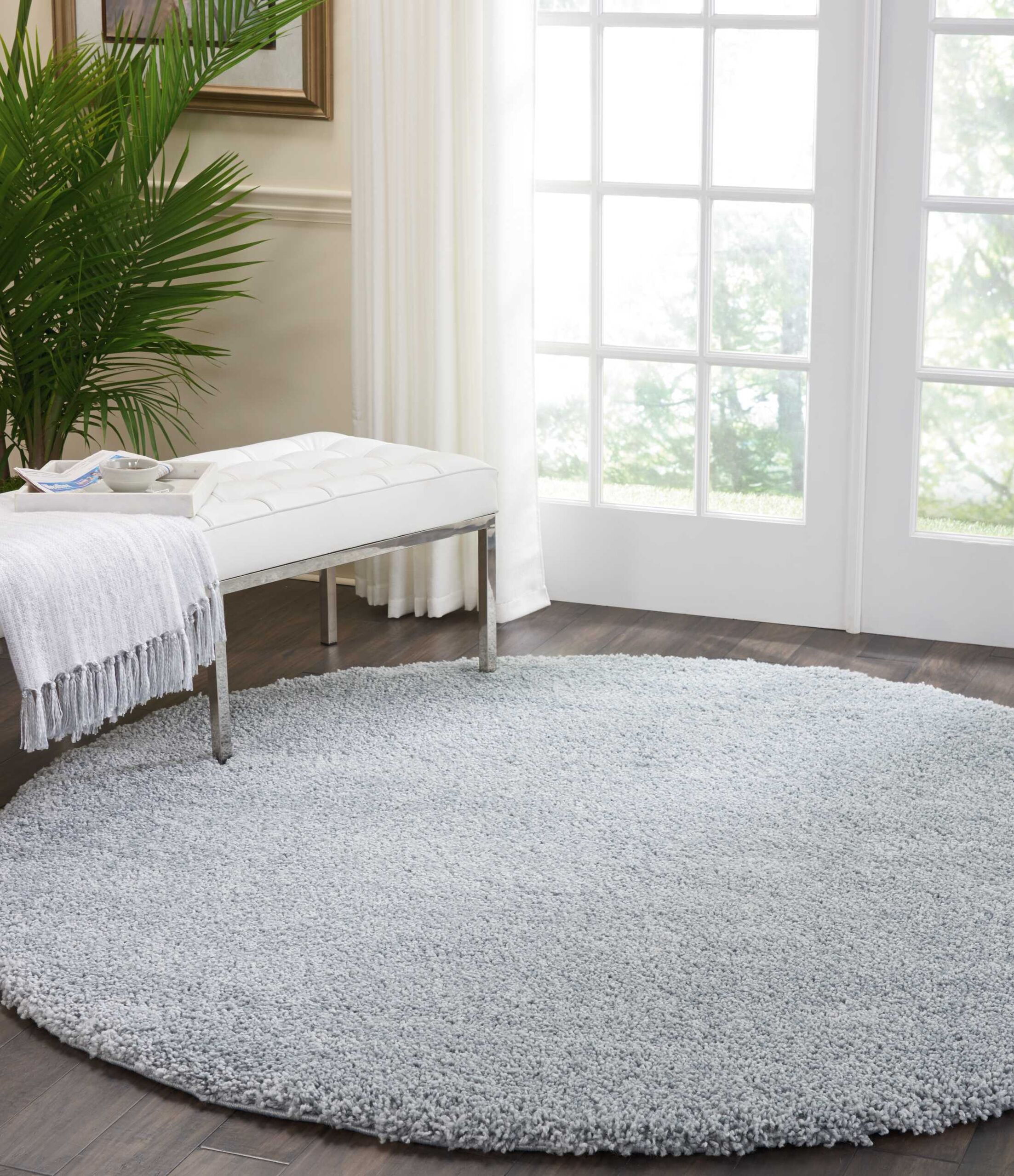 Parrish Silver Area Rug Rug Size: Round 7'10