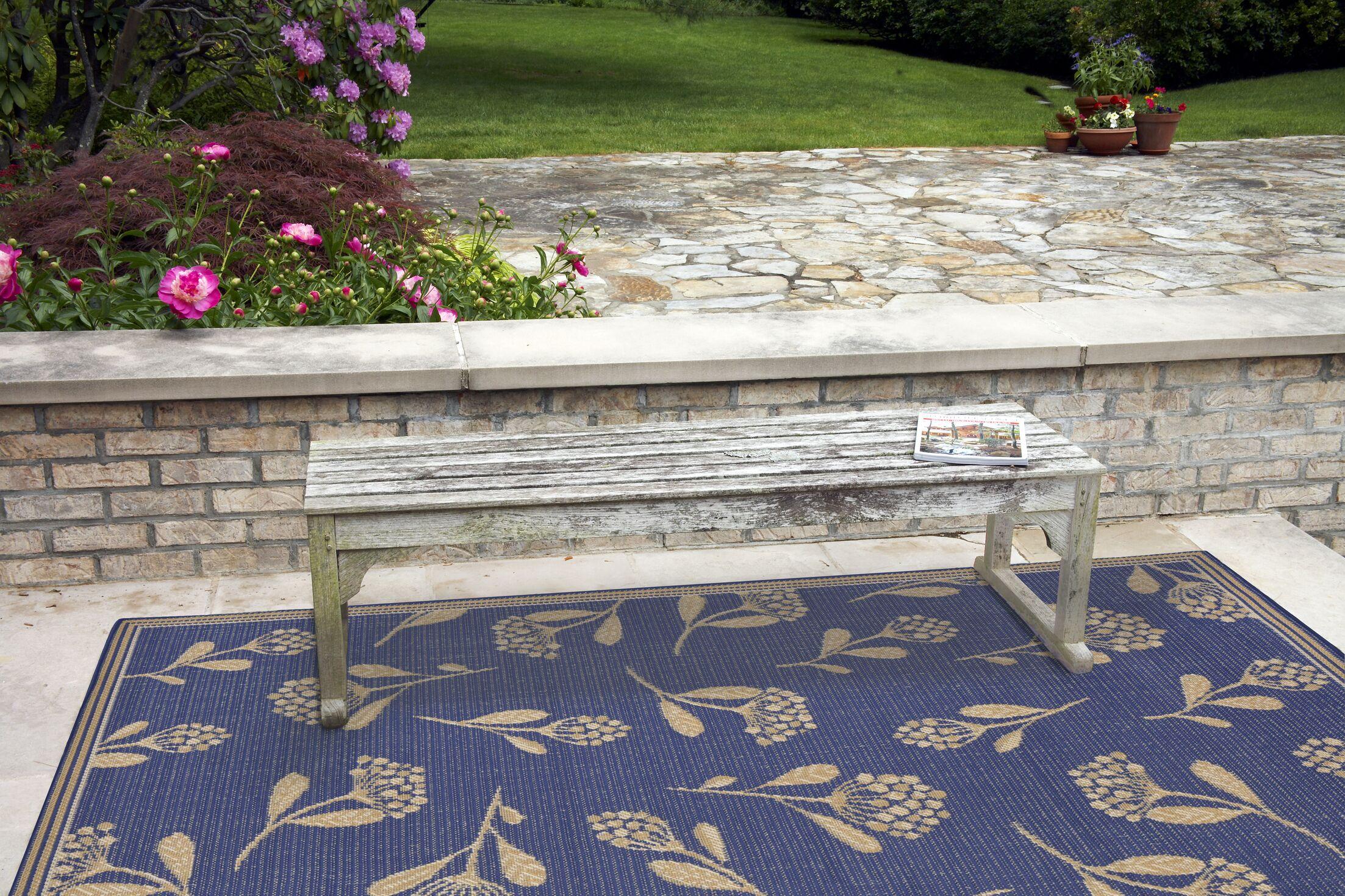 Venetian Summer Flower Power Loom Blue Indoor/Outdoor Area Rug Rug Size: Rectangle 7'10