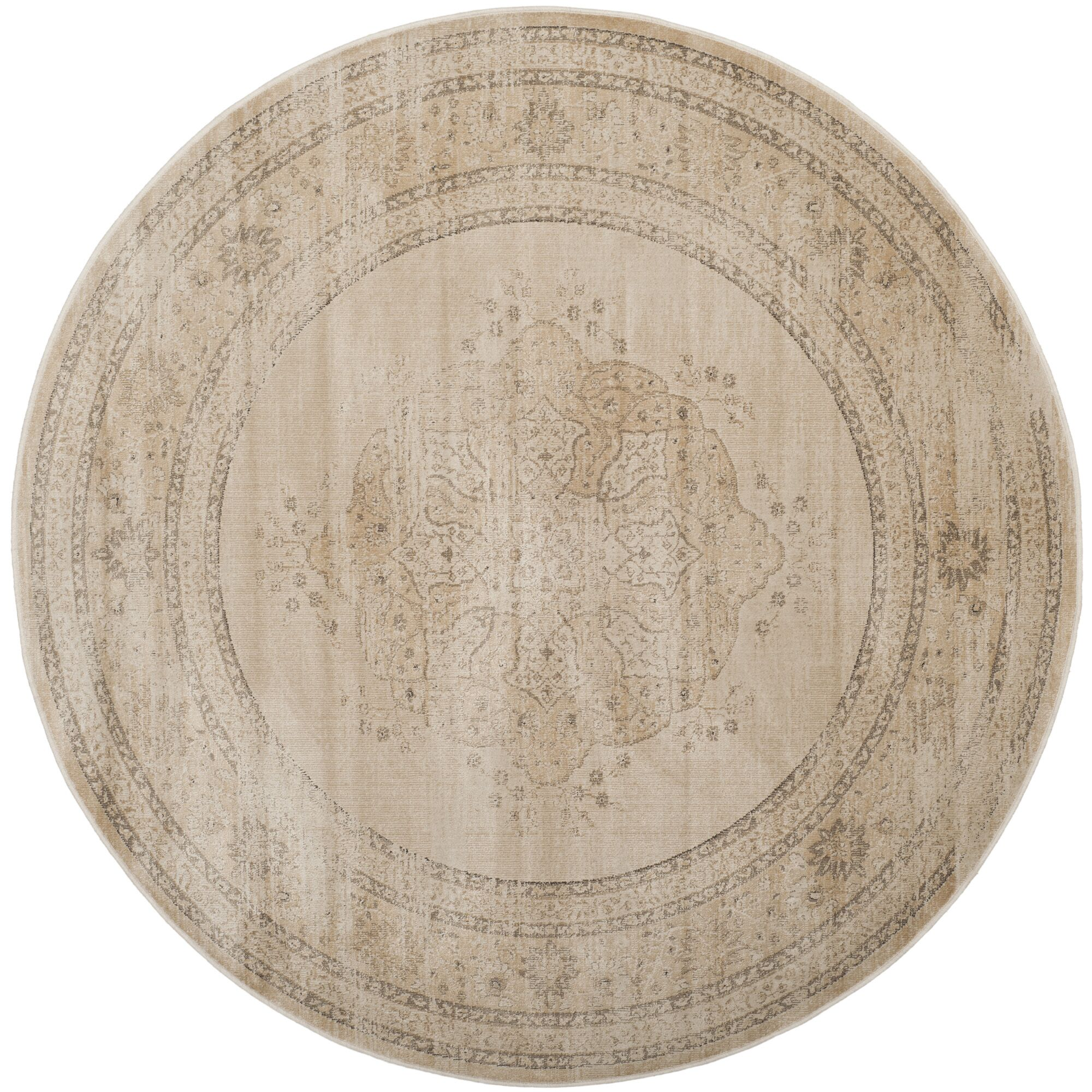 Frith Creme Area Rug Rug Size: Round 6'