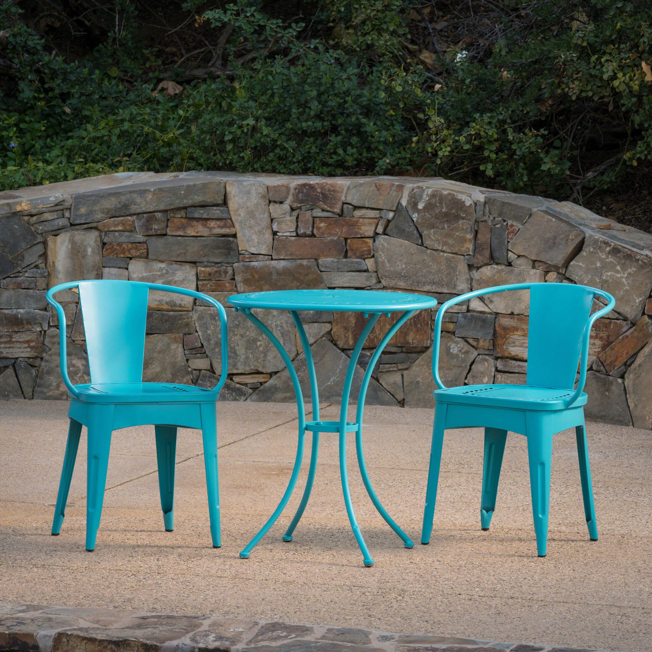 Springmont Outdoor 3 Piece Bistro Set Color: Teal
