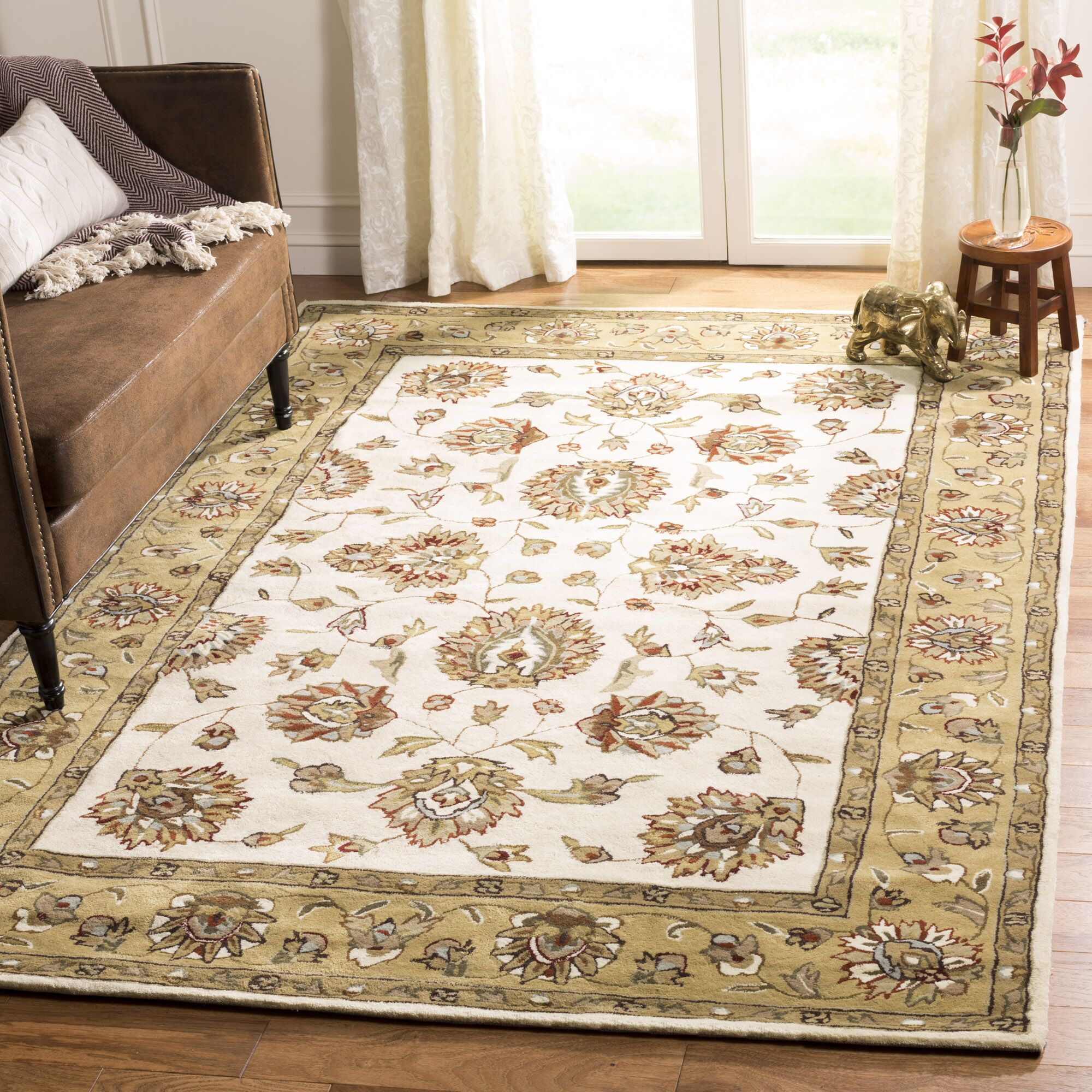 Cloverdale Hand-Hooked Ivory/Beige Area Rug Rug Size: Rectangle 9' x 12'