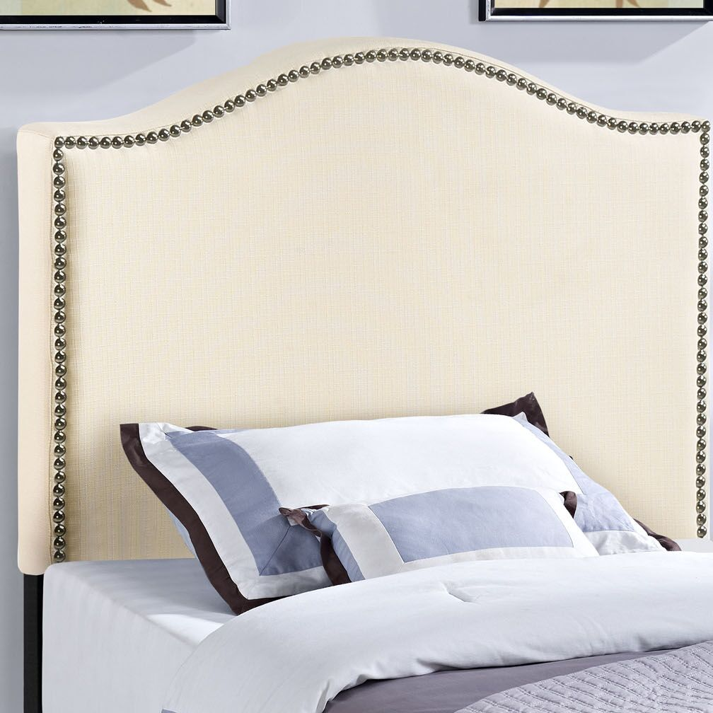 Bransford Curl Upholstered Headboard Upholstery: Ivory, Size: King