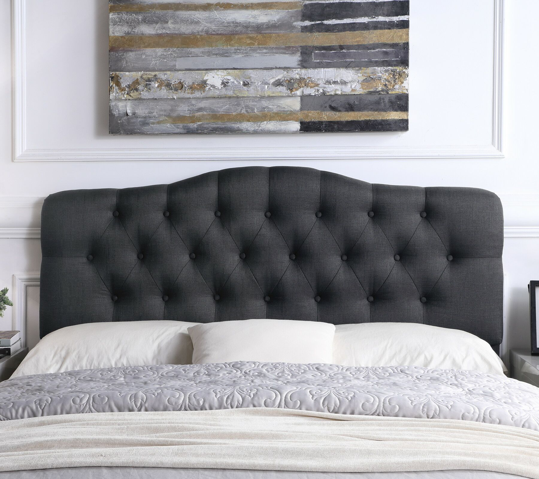 Charlotte Upholstered Panel Headboard Color: Charcoal, Size: Full