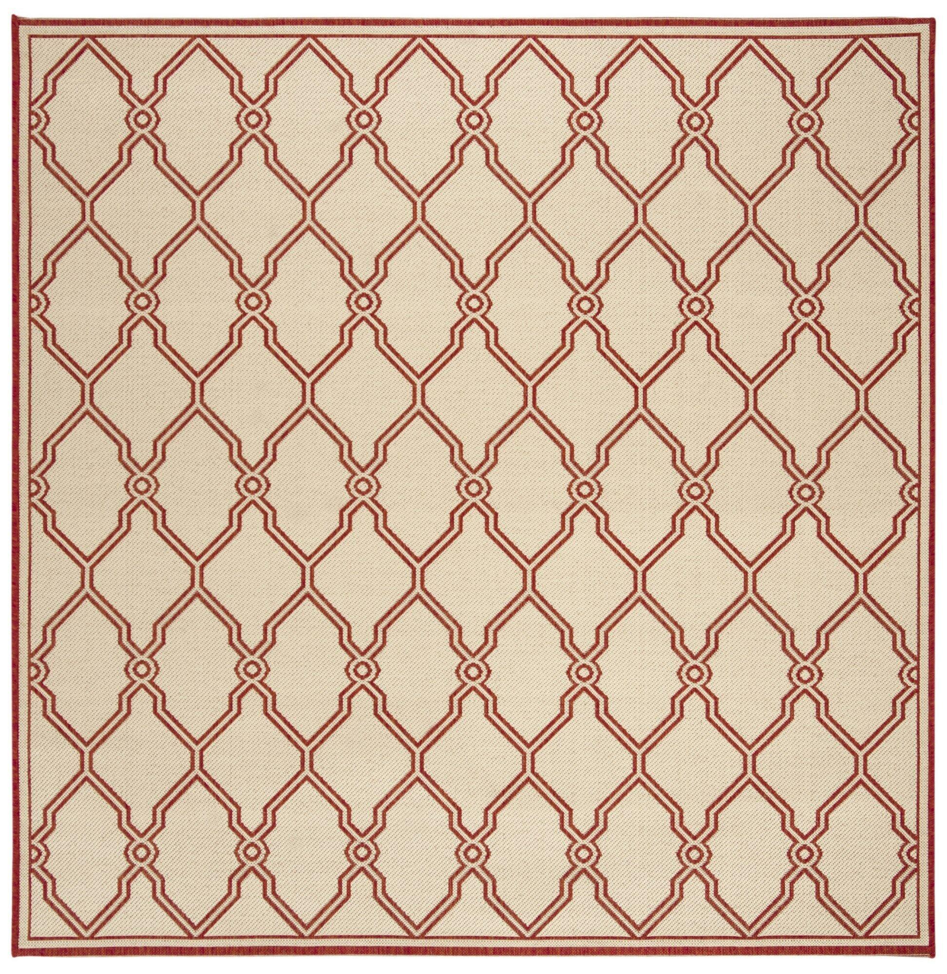 Karpinski Red/Cream Area Rug Rug Size: Square 6'7
