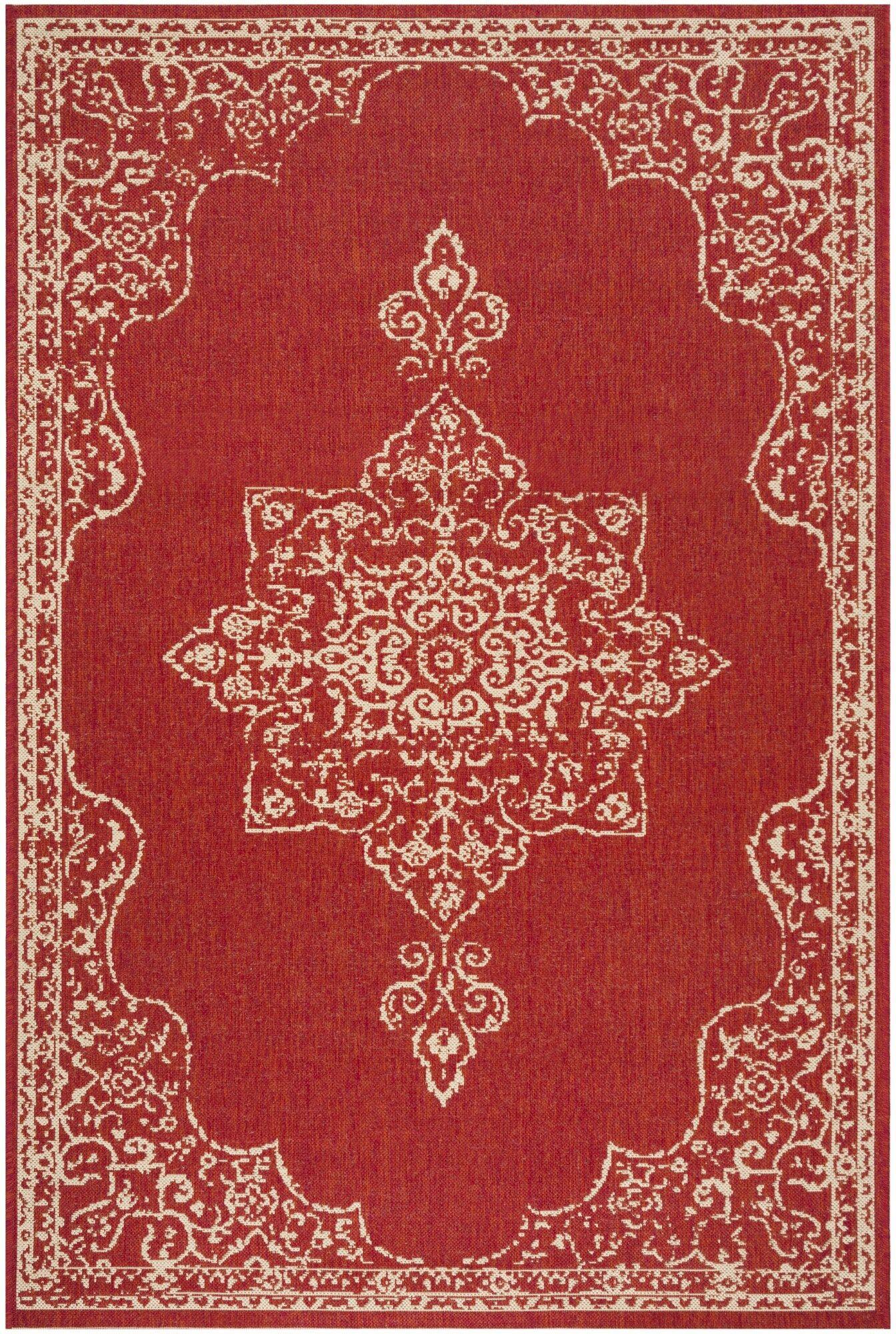 Karpinski Red/Cream Area Rug Rug Size: Rectangle 9' x 12'
