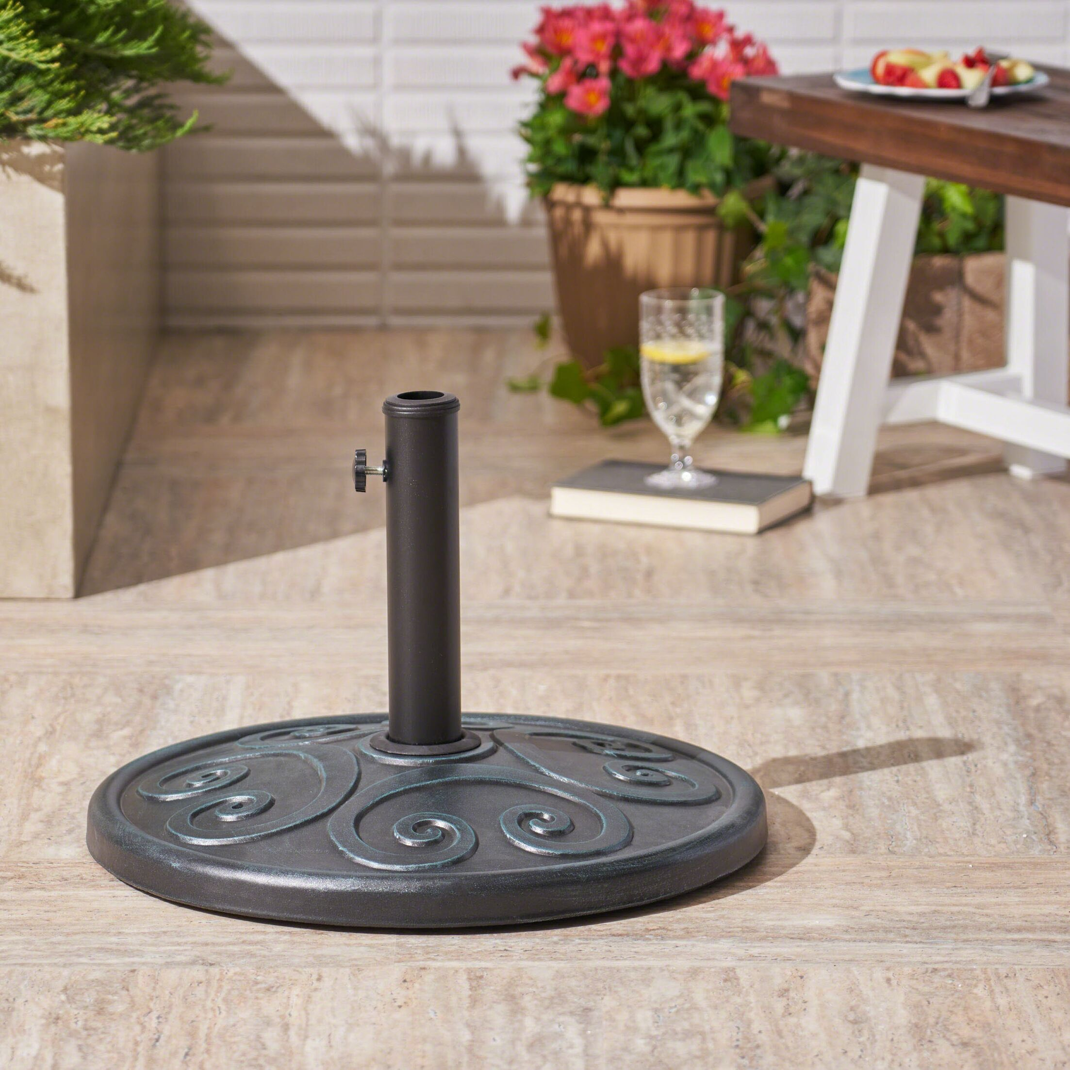 Moriarty Outdoor Concrete Free Standing Umbrella Base