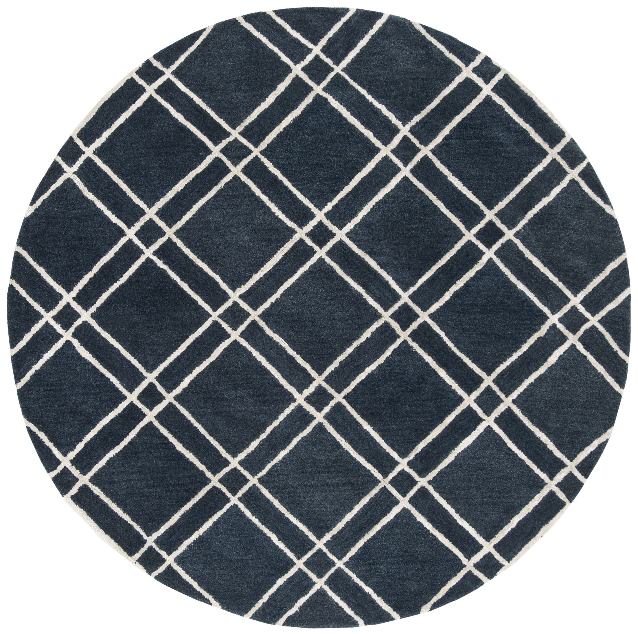 Dirks Hand-Tufted Wool Navy Area Rug Rug Size: Round 6'