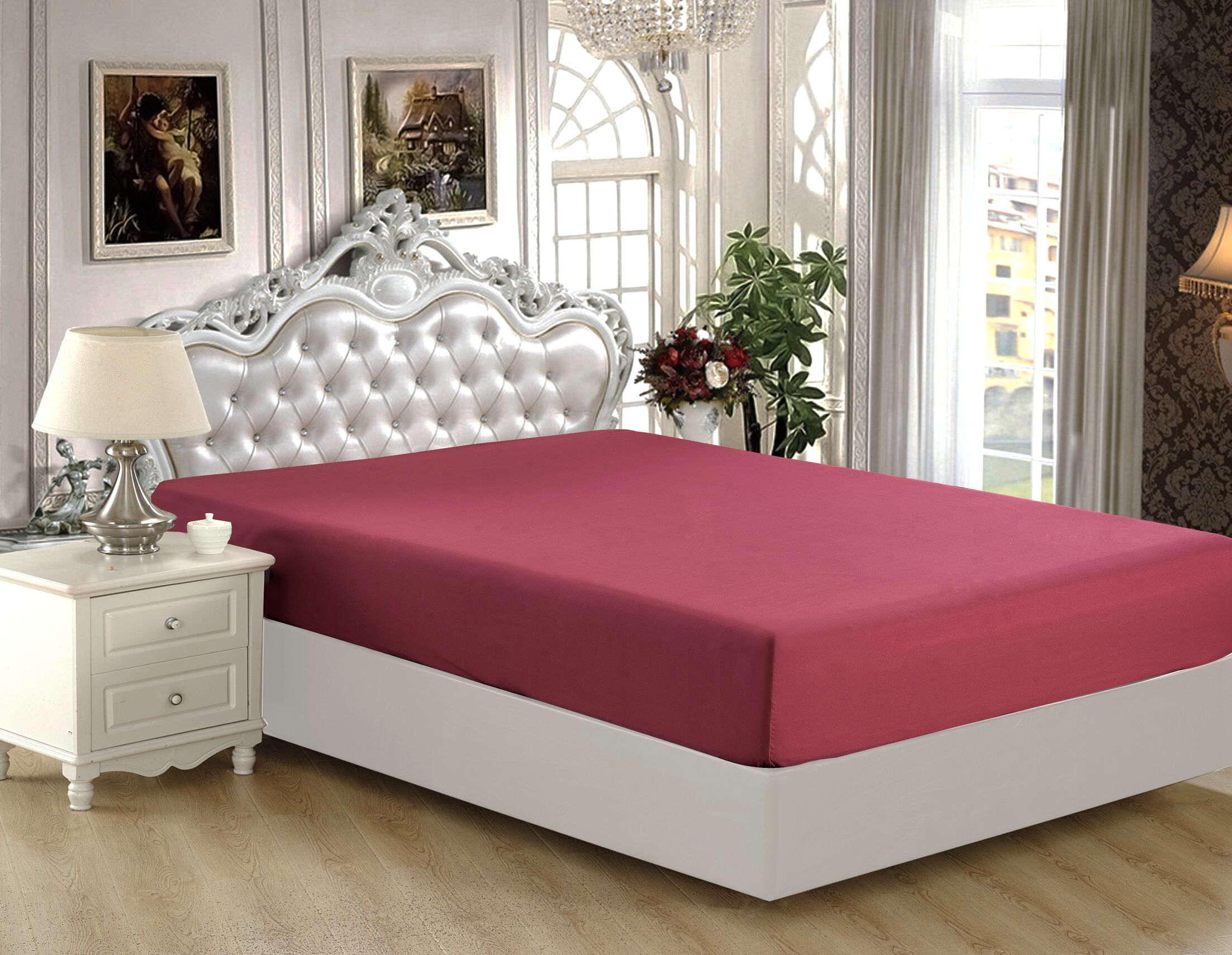 Byrnes Comfort and Soft Fitted Sheet Color: Red, Size: Queen