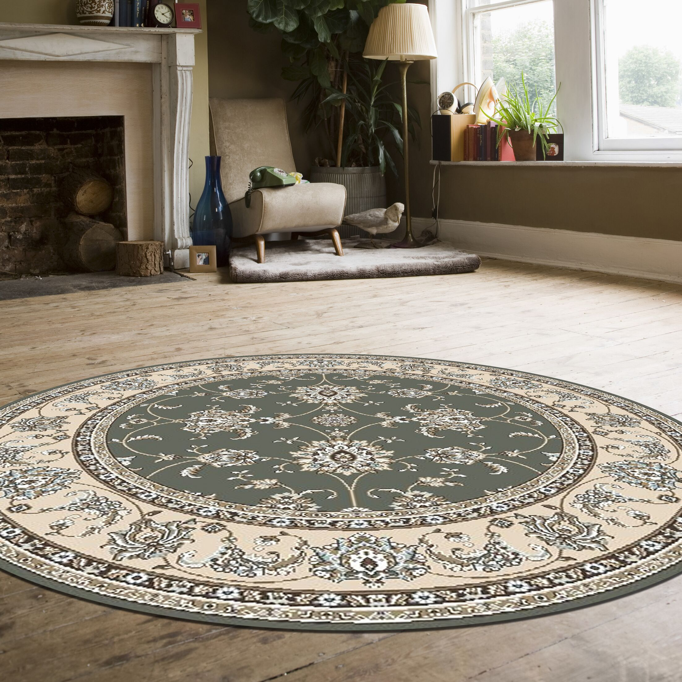 Ackermanville Green Area Rug Rug Size: Round 5'3