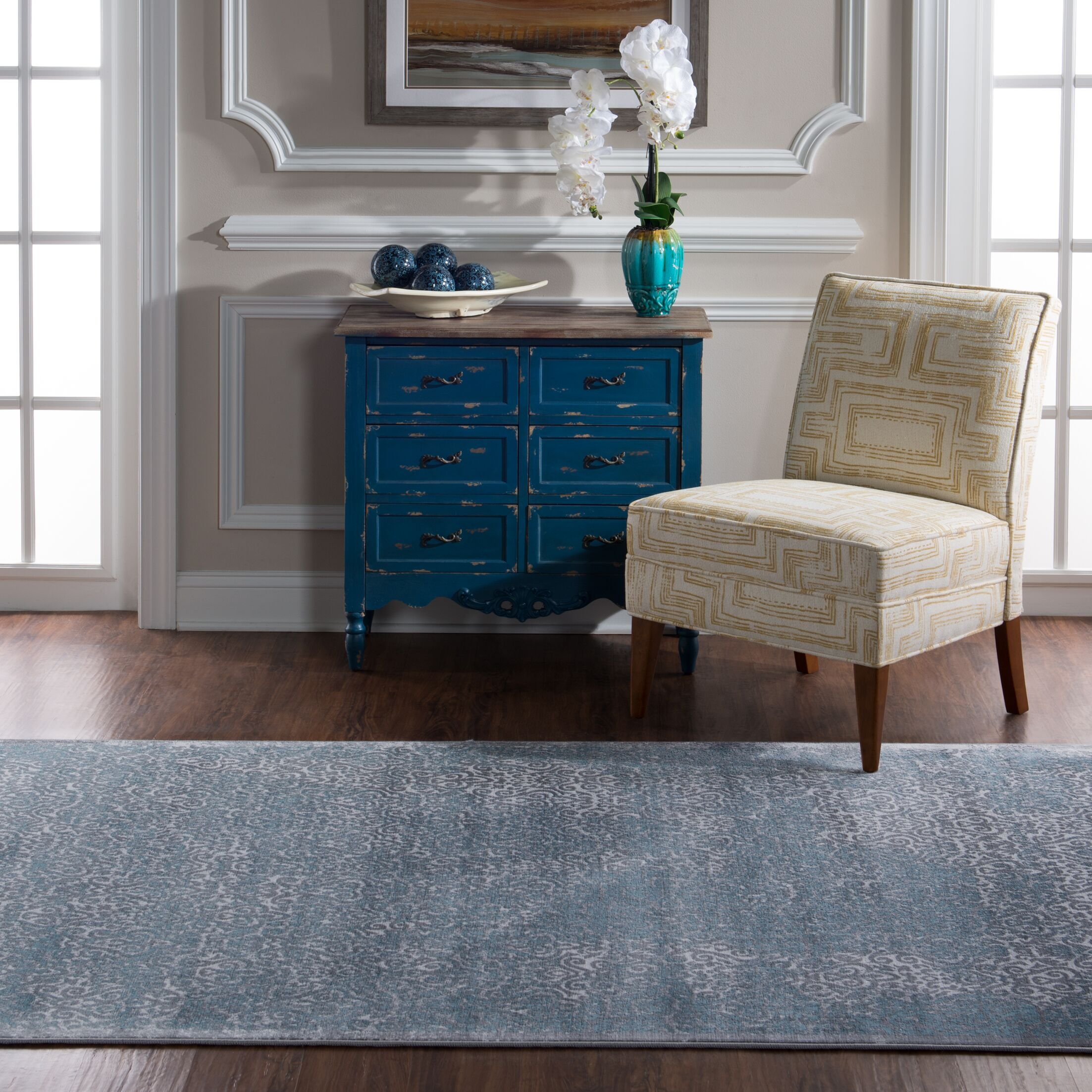Claiborne Light Blue/Gray Area Rug Rug Size: Rectangle 5' x 7'6