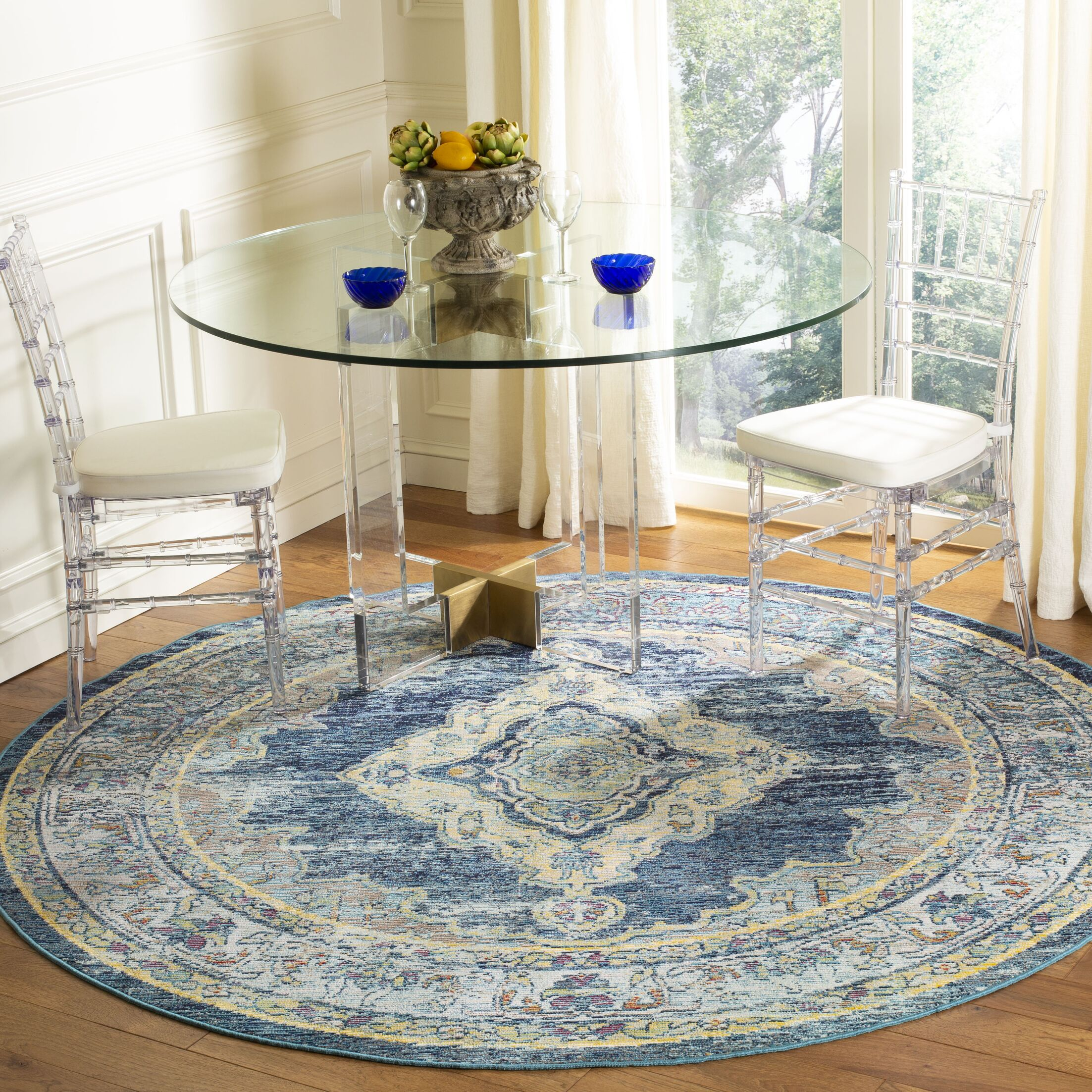 Michiana Blue/Yellow Area Rug Rug Size: Round 7'