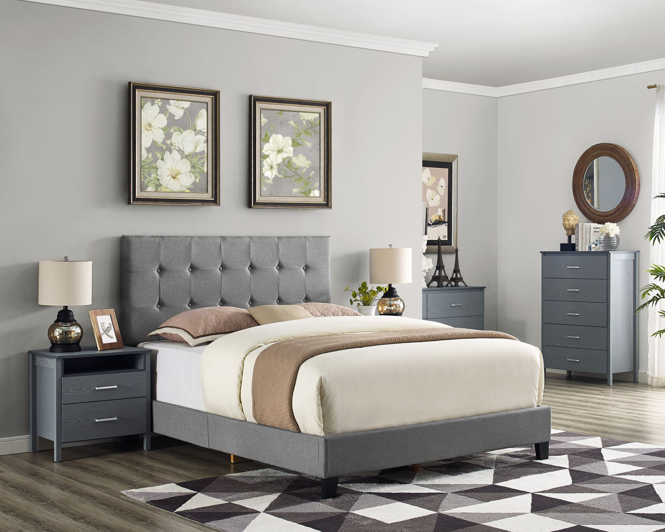 Cassandra Upholstered Panel Bed Size: Full, Color: Sandstone
