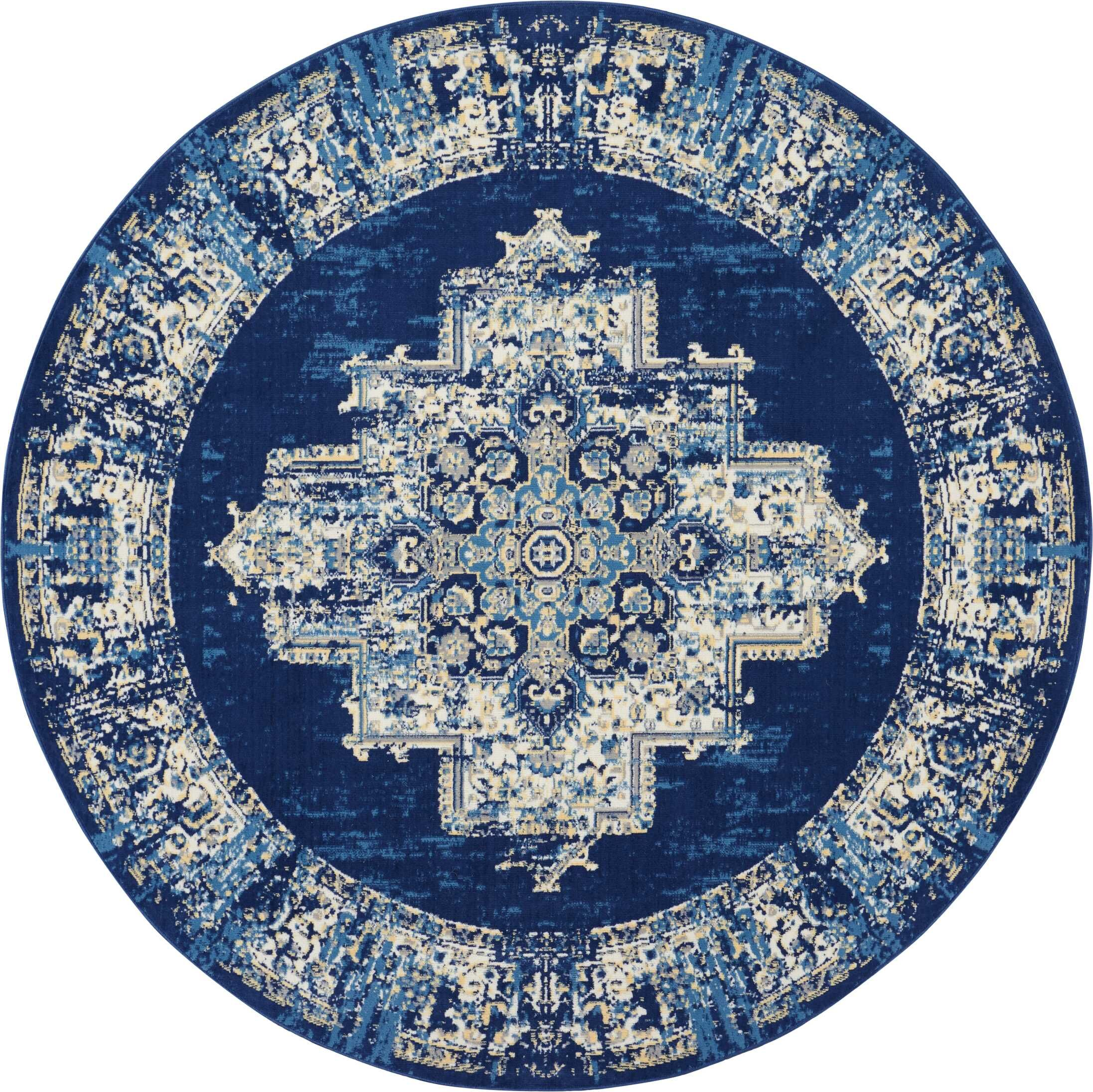 Susan Blue Area Rug Rug Size: Round 8'