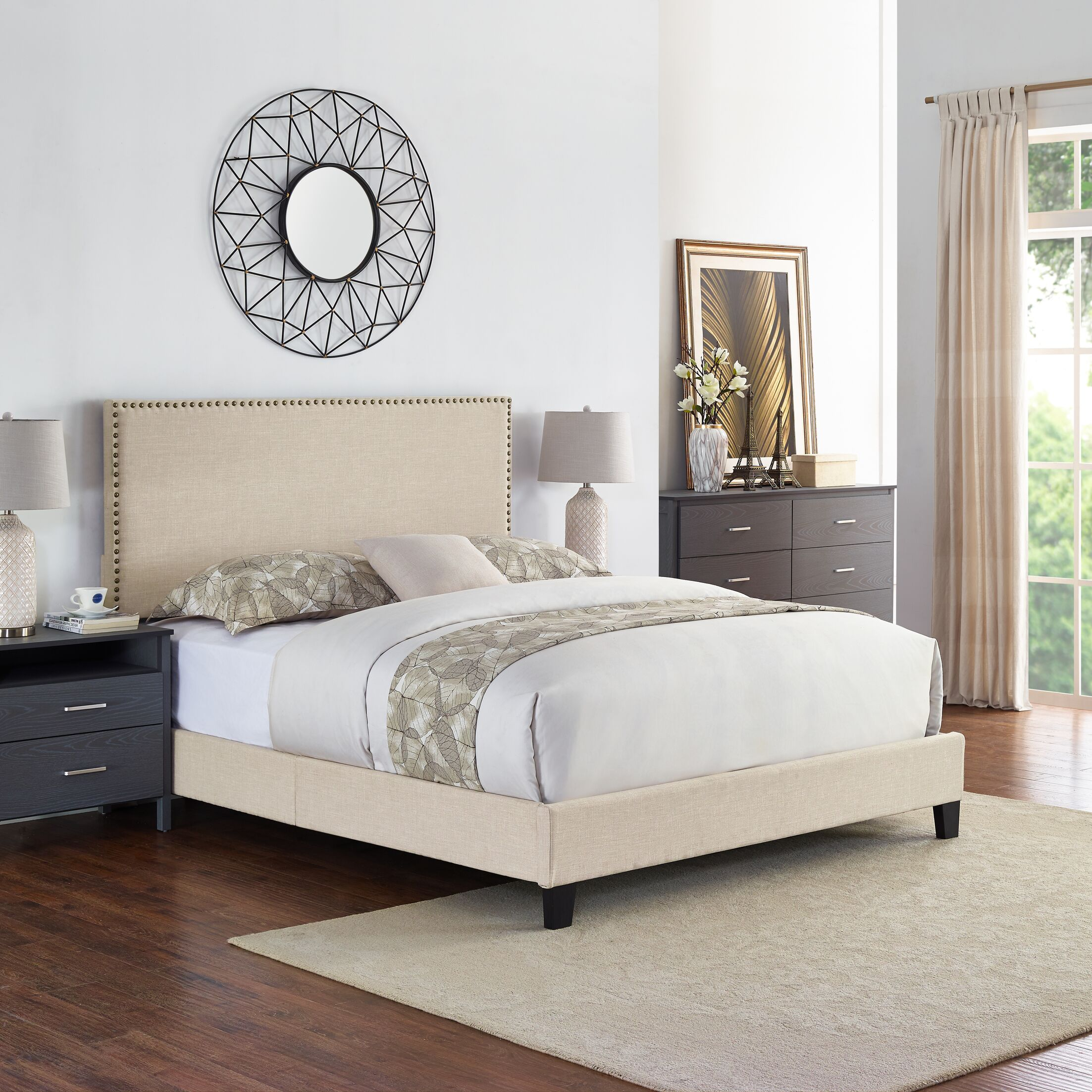 Cassandra Upholstered Panel Bed Color: Beige, Size: Twin