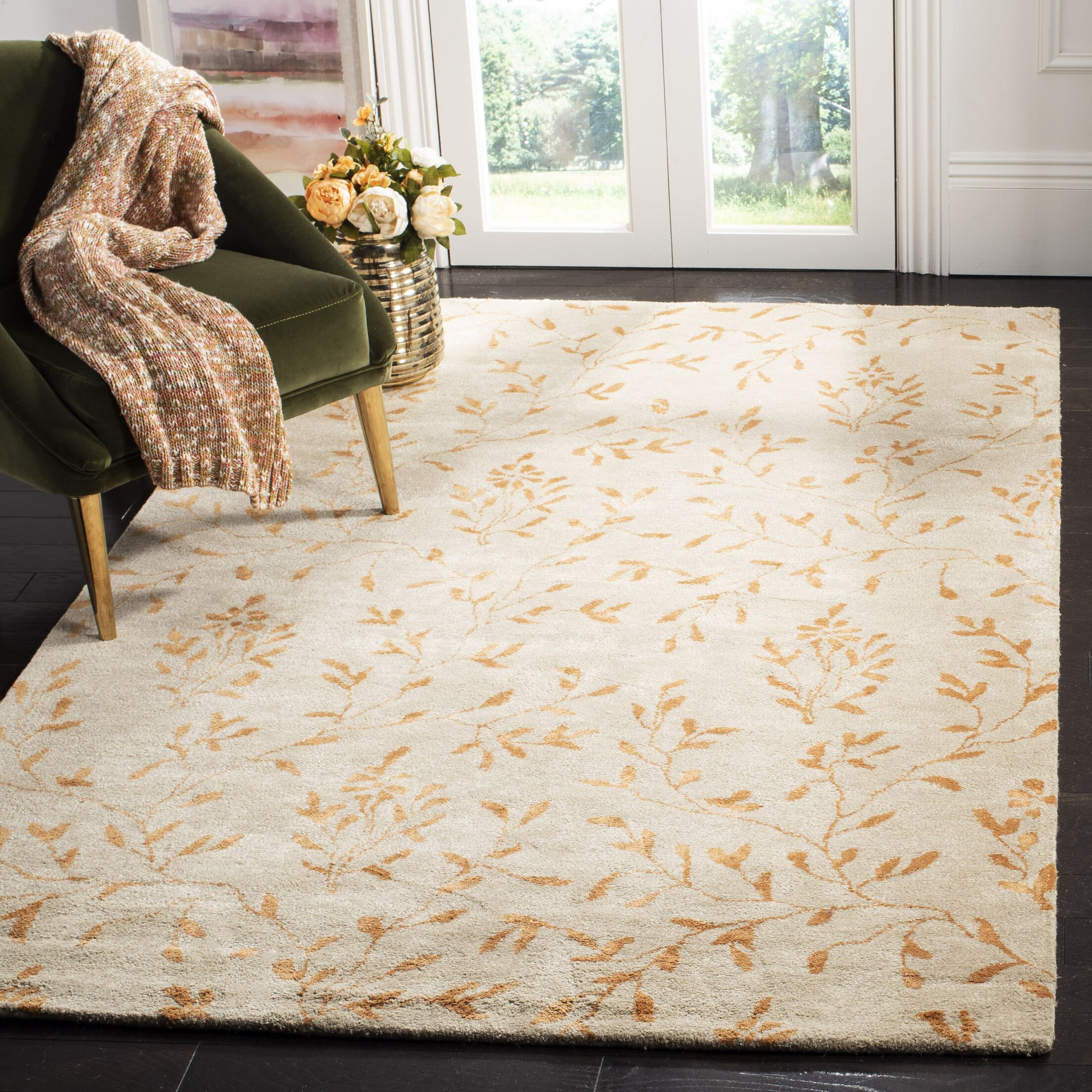 Alvan Hand-Tufted Beige/Orange Area Rug Rug Size: Rectangle 5' x 8'