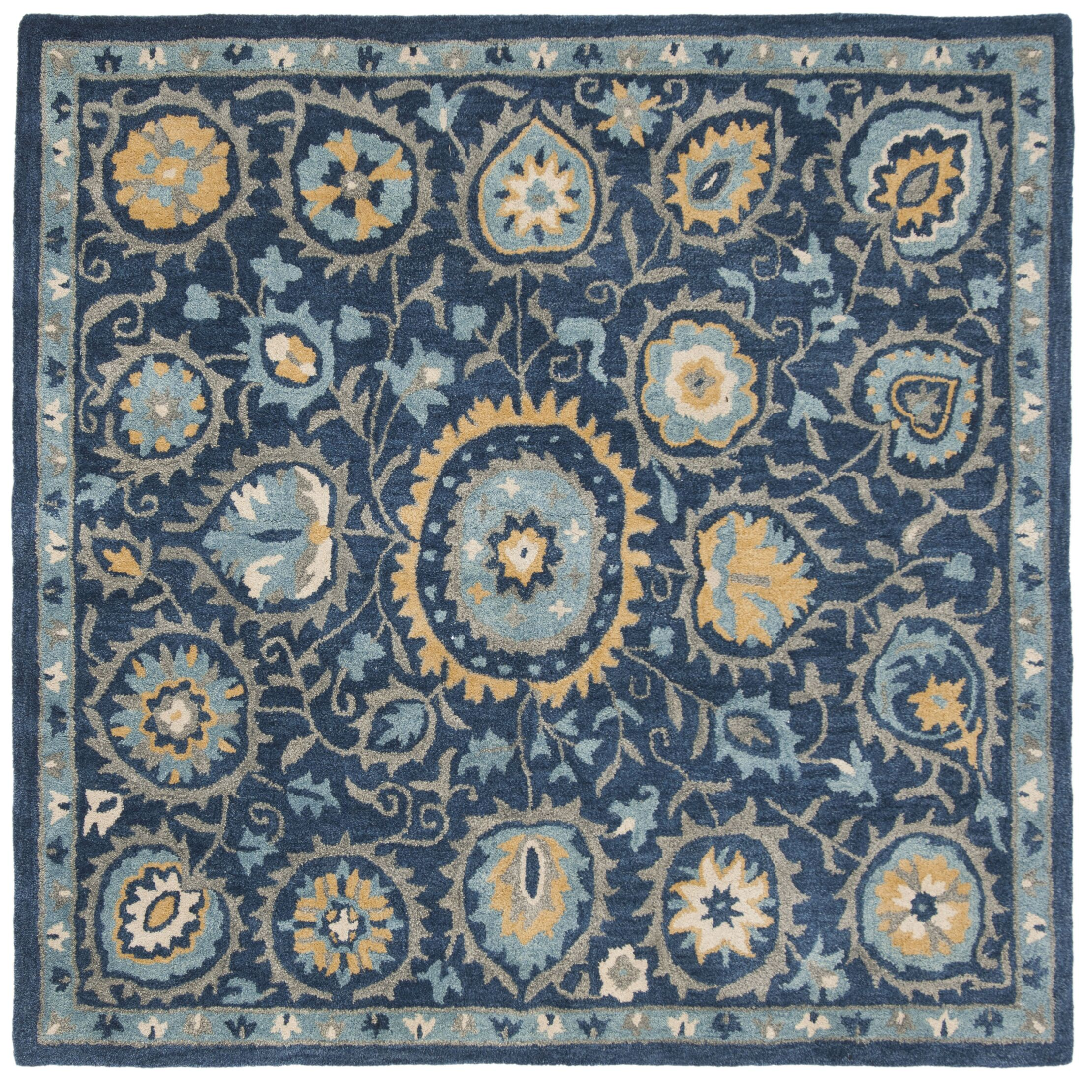 Dipietro Hand-Tufted Wool Blue Area Rug Rug Size: Square 6'