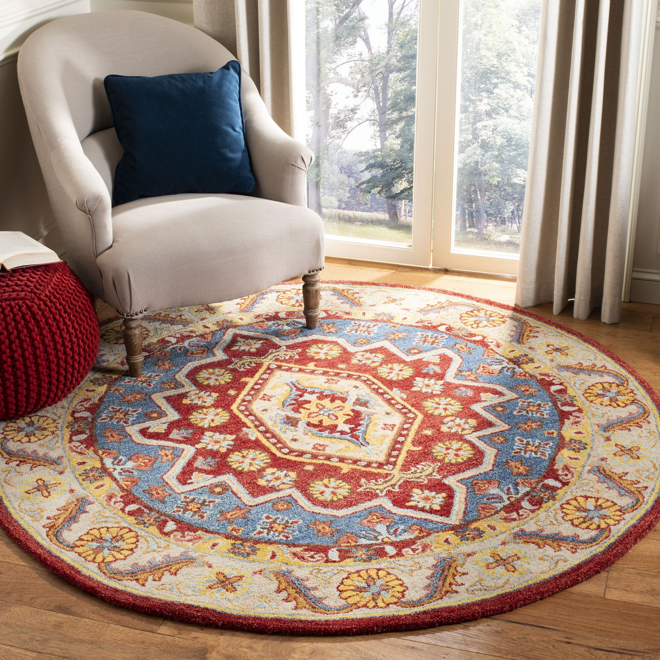 Clymer Antiquity Hand-Tufted Red/Beige Area Rug Rug Size: Round 6'